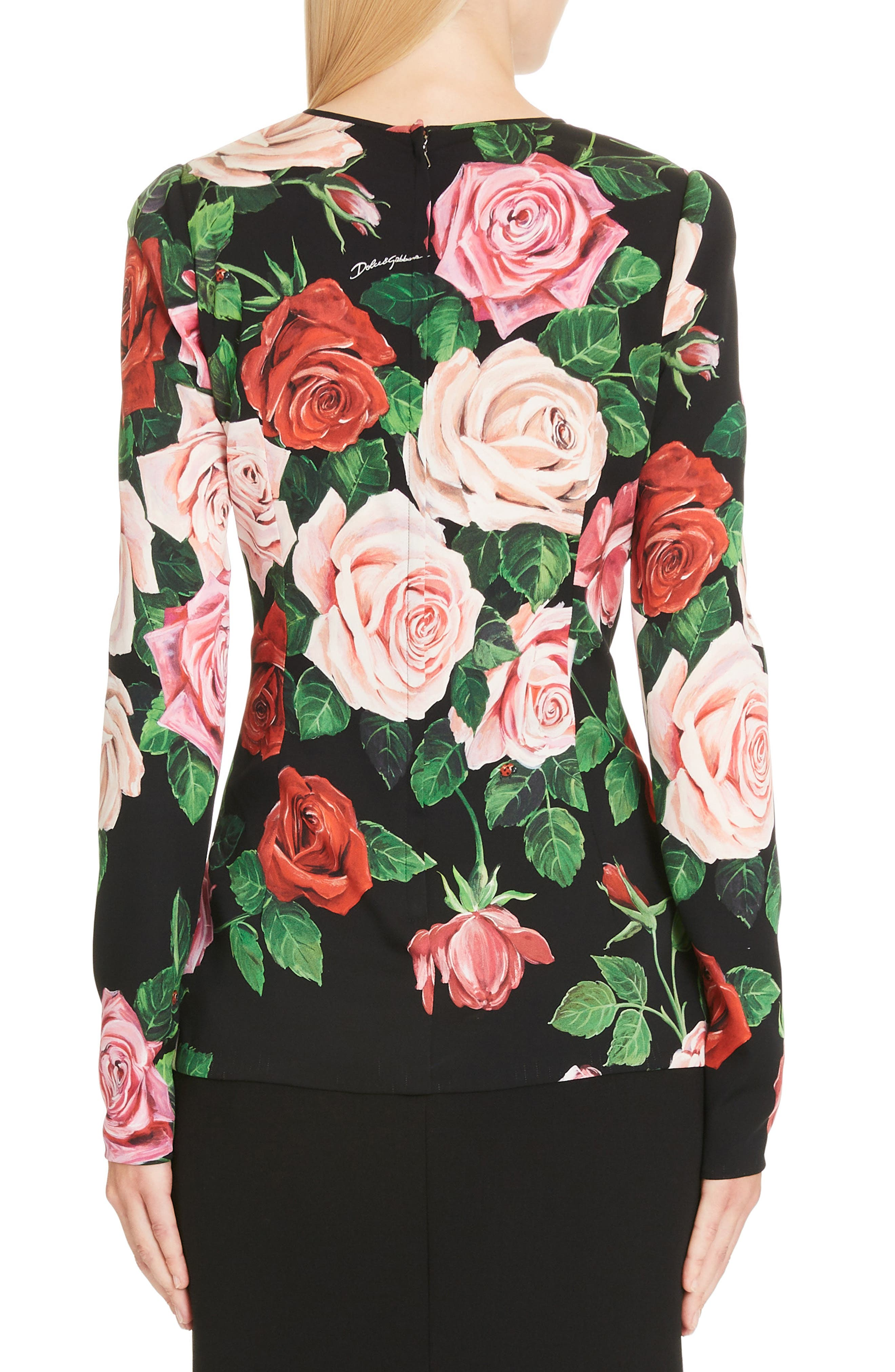 DOLCE&GABBANA, Rose Print Stretch Silk Top, Alternate thumbnail 2, color, BLACK ROSE