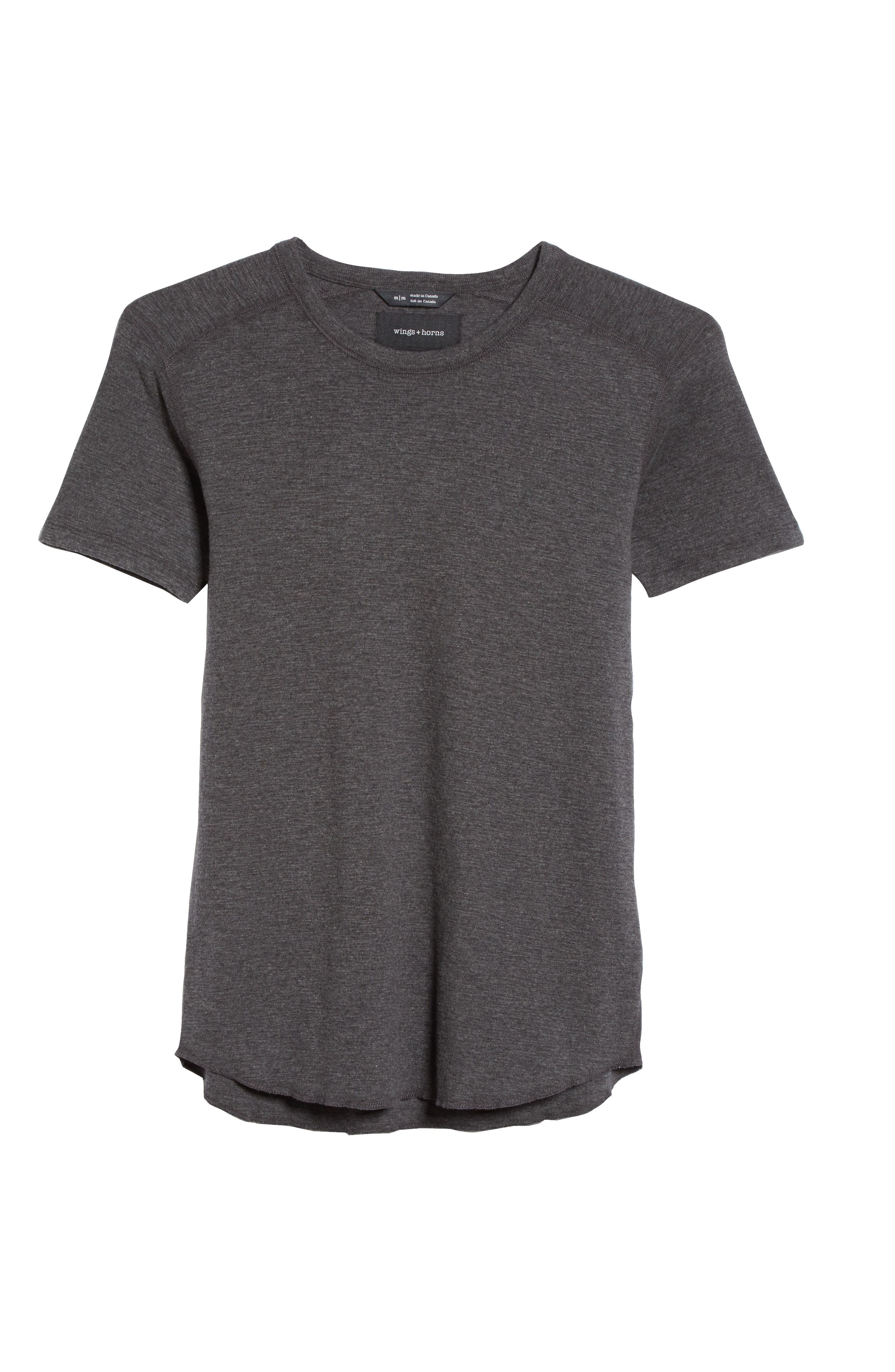 WINGS + HORNS, Ribbed Slub Cotton T-Shirt, Alternate thumbnail 6, color, HEATHER CHARCOAL