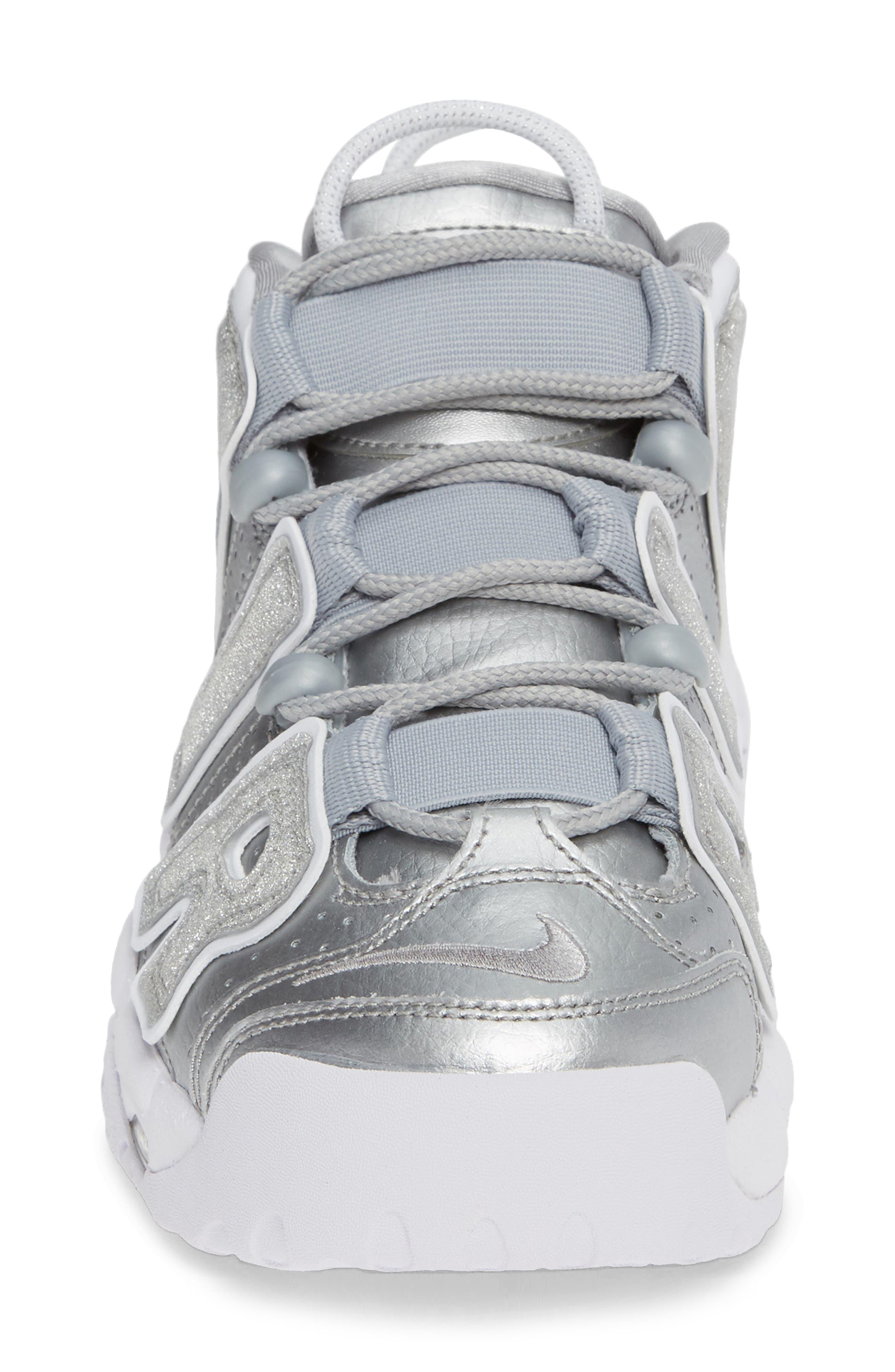 NIKE, Air More Uptempo Sneaker, Alternate thumbnail 4, color, METALLIC SILVER