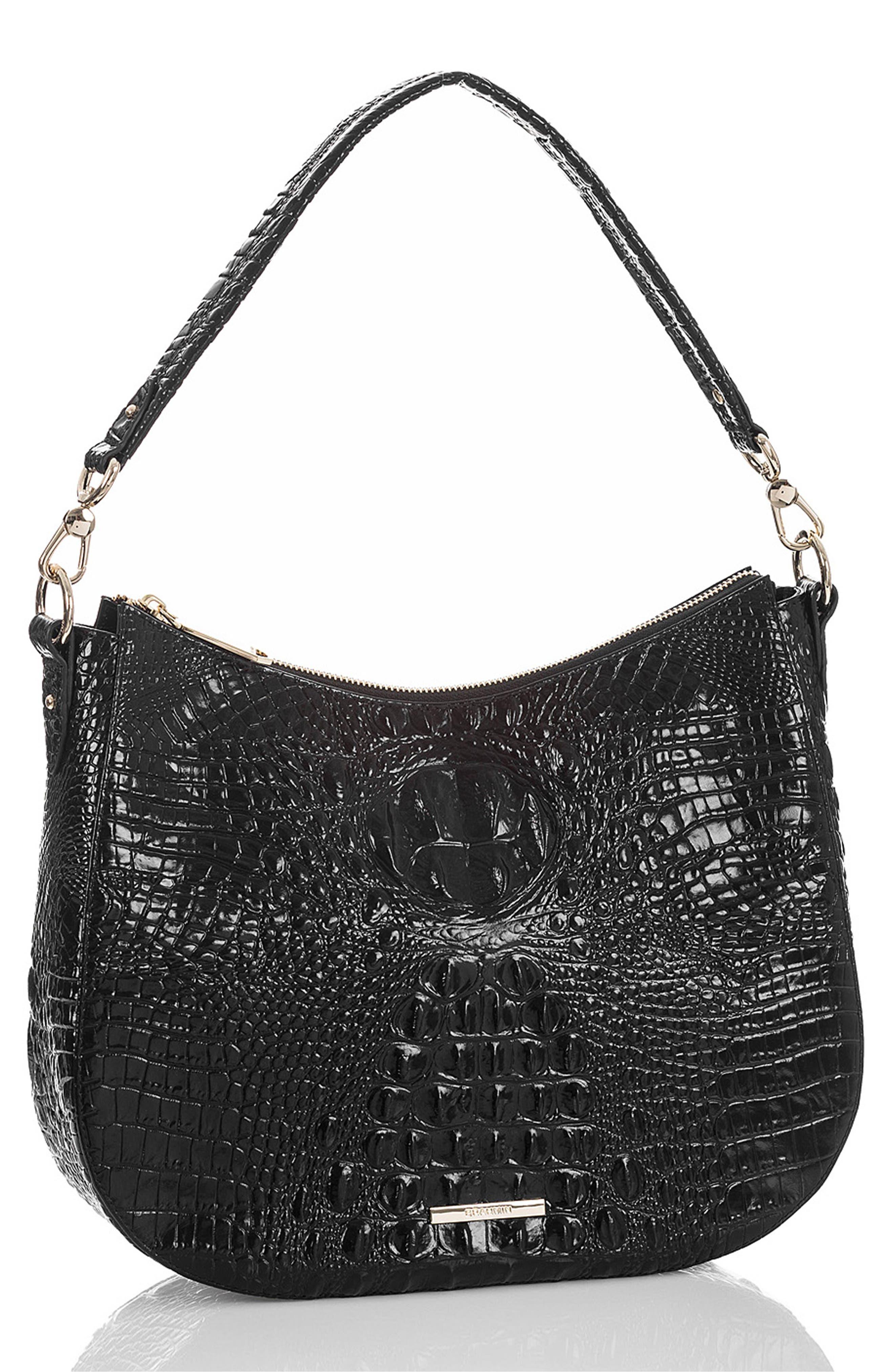 BRAHMIN, Daphne Croc Embossed Leather Hobo, Alternate thumbnail 4, color, 001