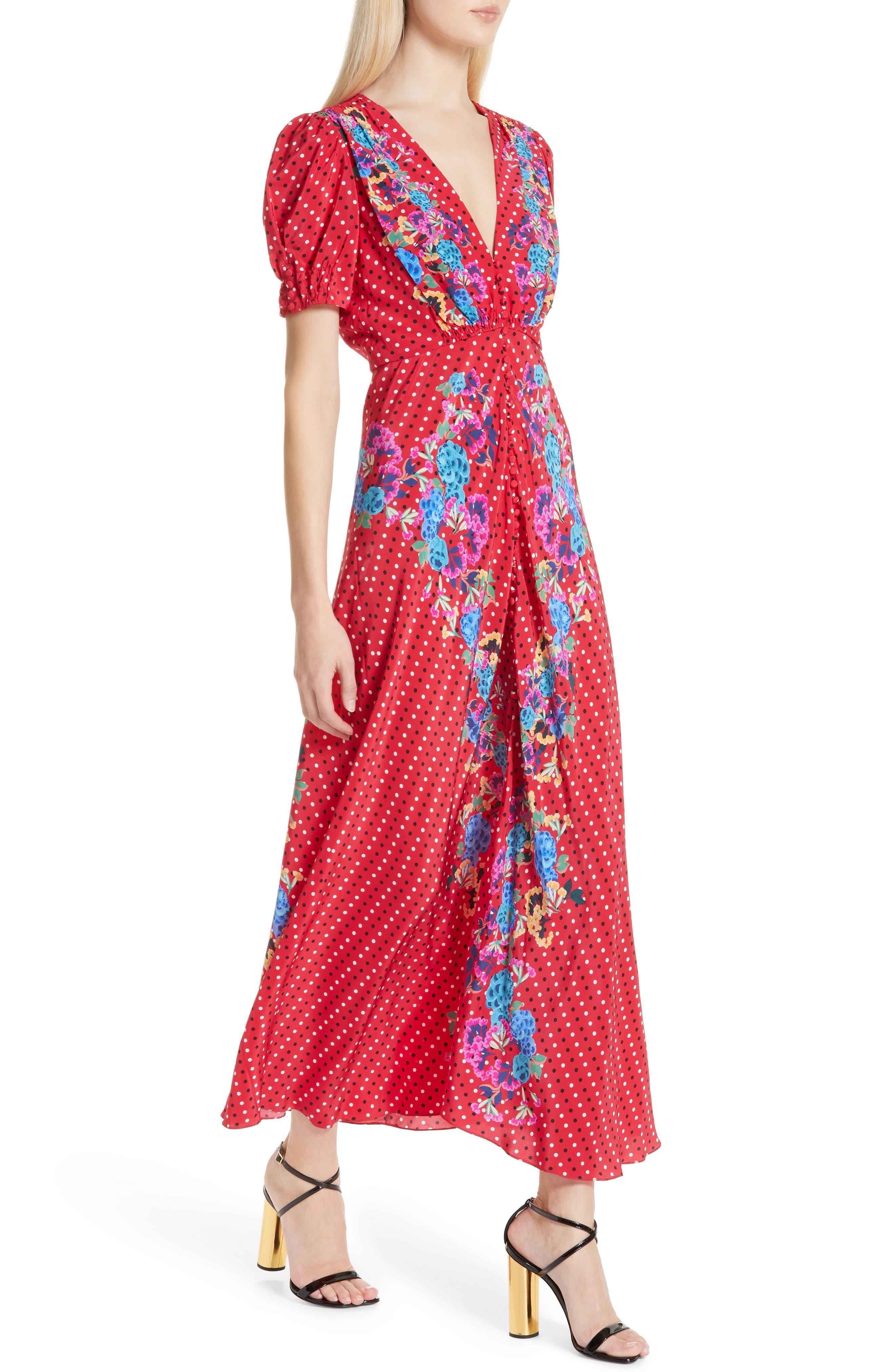 SALONI, Lea Print Silk Maxi Dress, Alternate thumbnail 4, color, SCARLET POLKA DOT