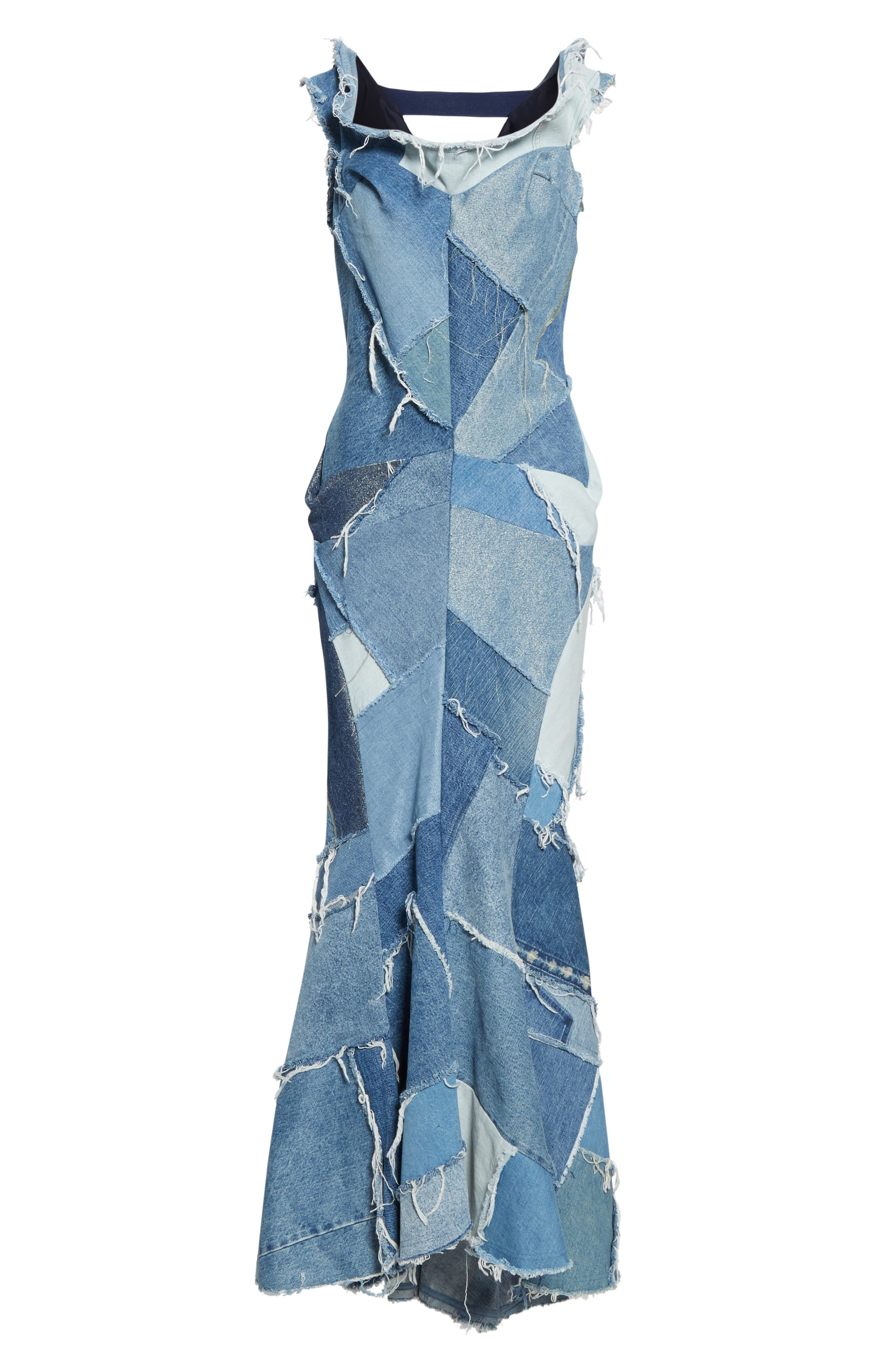 JUNYA WATANABE, Denim Patchwork Off the Shoulder Mermaid Dress, Alternate thumbnail 7, color, INDIGO