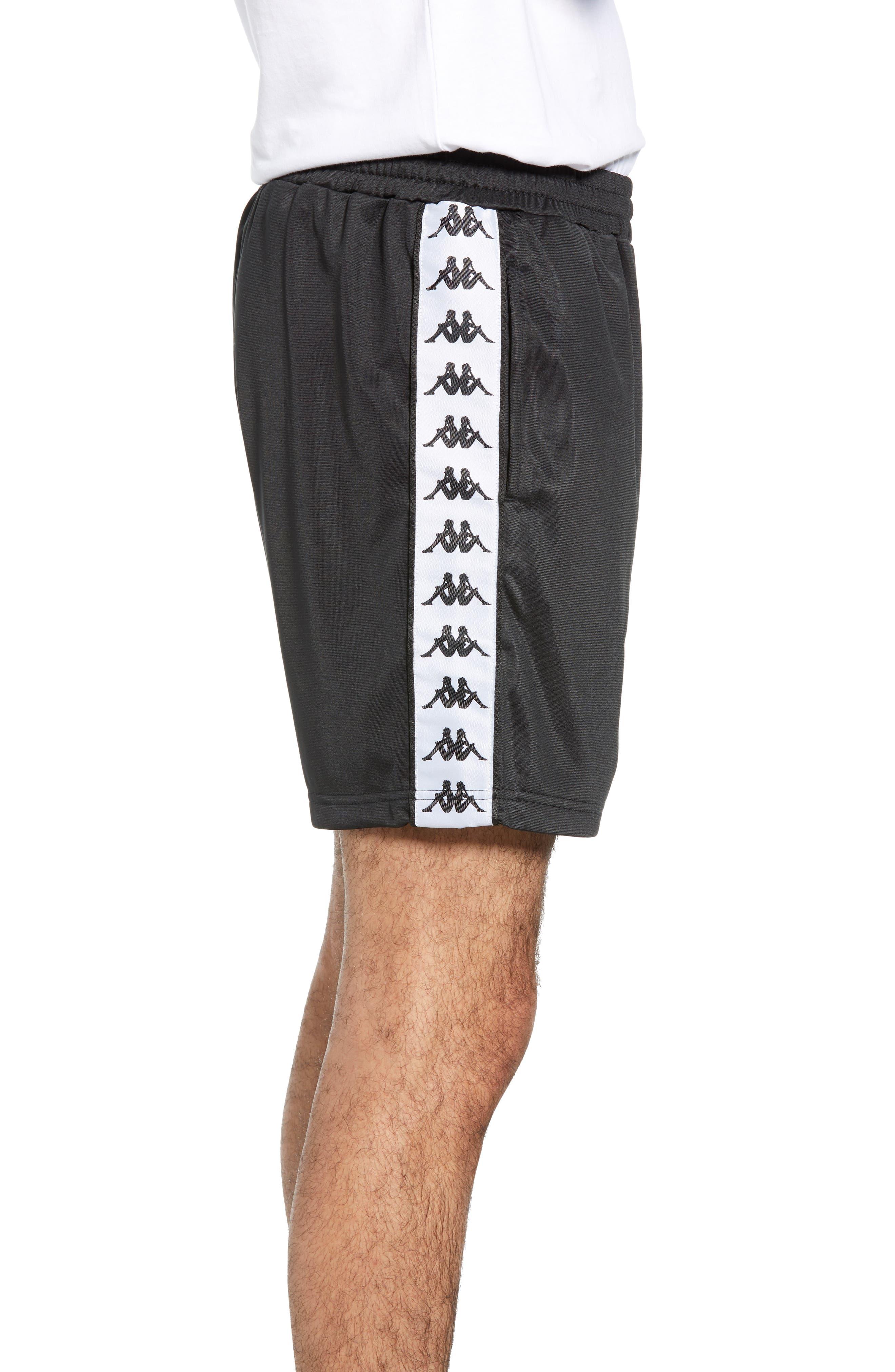 KAPPA, 222 Banda Cole Athletic Shorts, Alternate thumbnail 4, color, BLACK/ WHITE