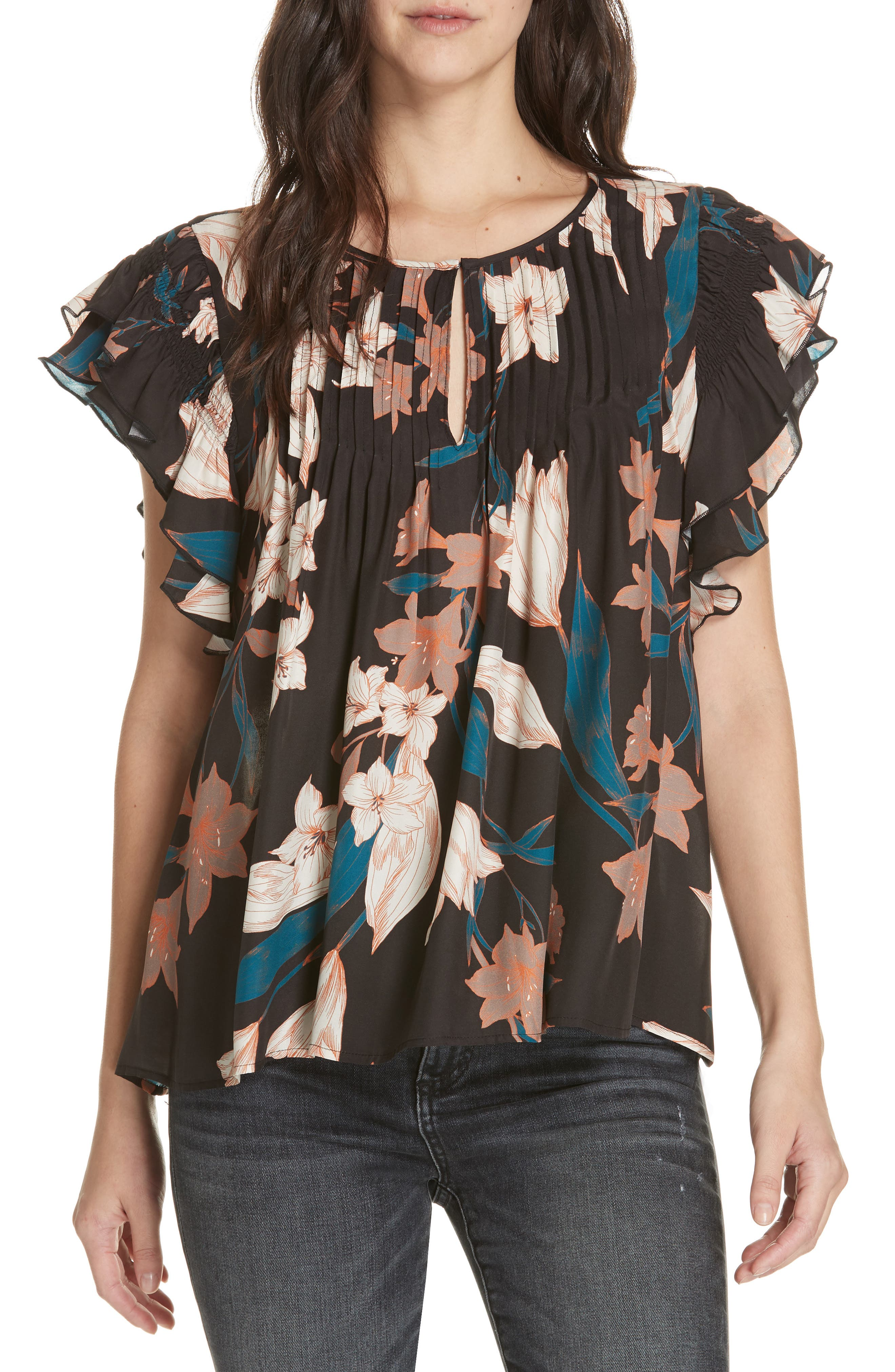 DOLAN Georgia May Pintuck Silk Top, Main, color, BLACK TIGER LILY