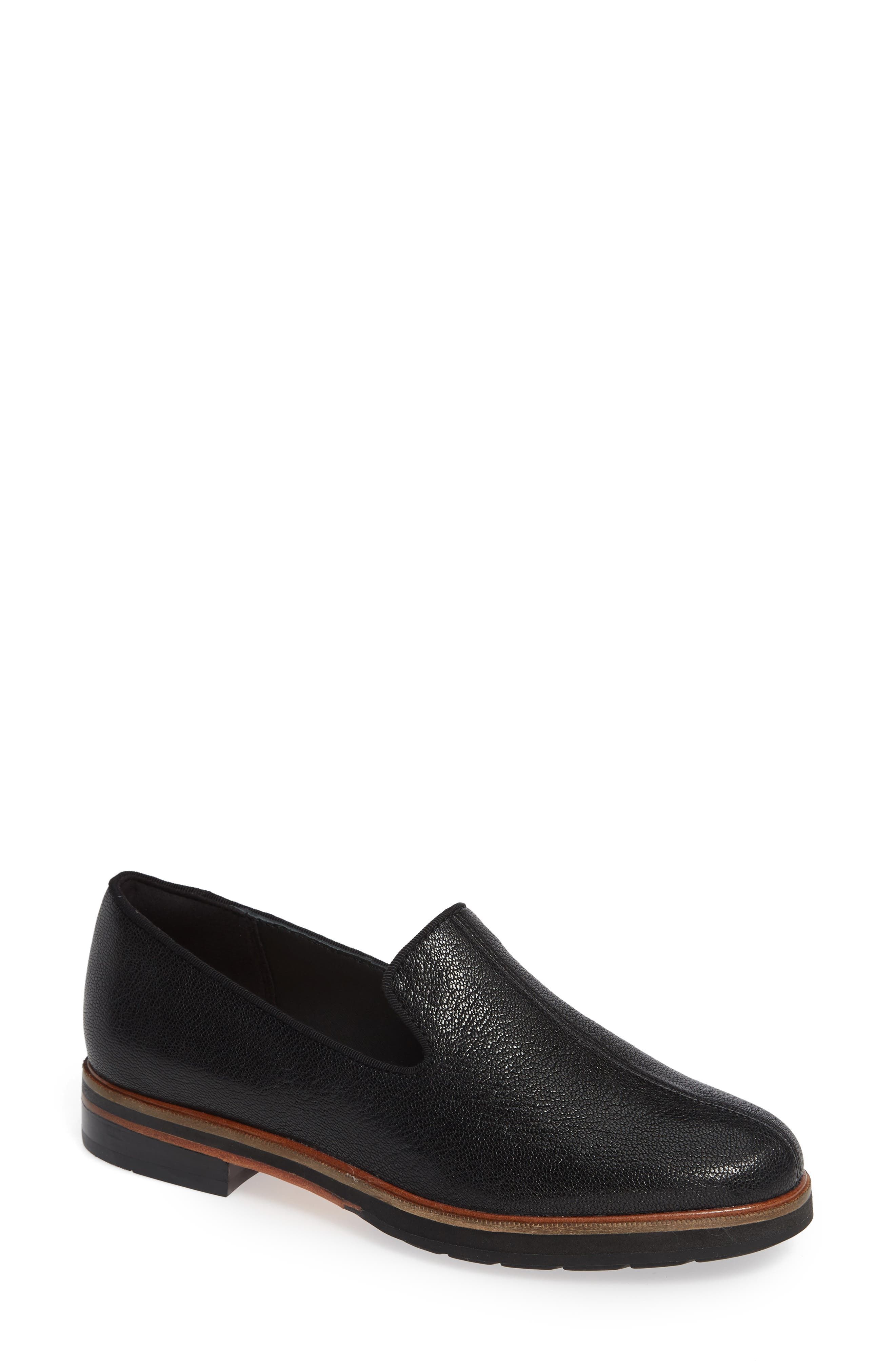 CLARKS<SUP>®</SUP>, Frida Loafer, Main thumbnail 1, color, BLACK TUMBLED LEATHER