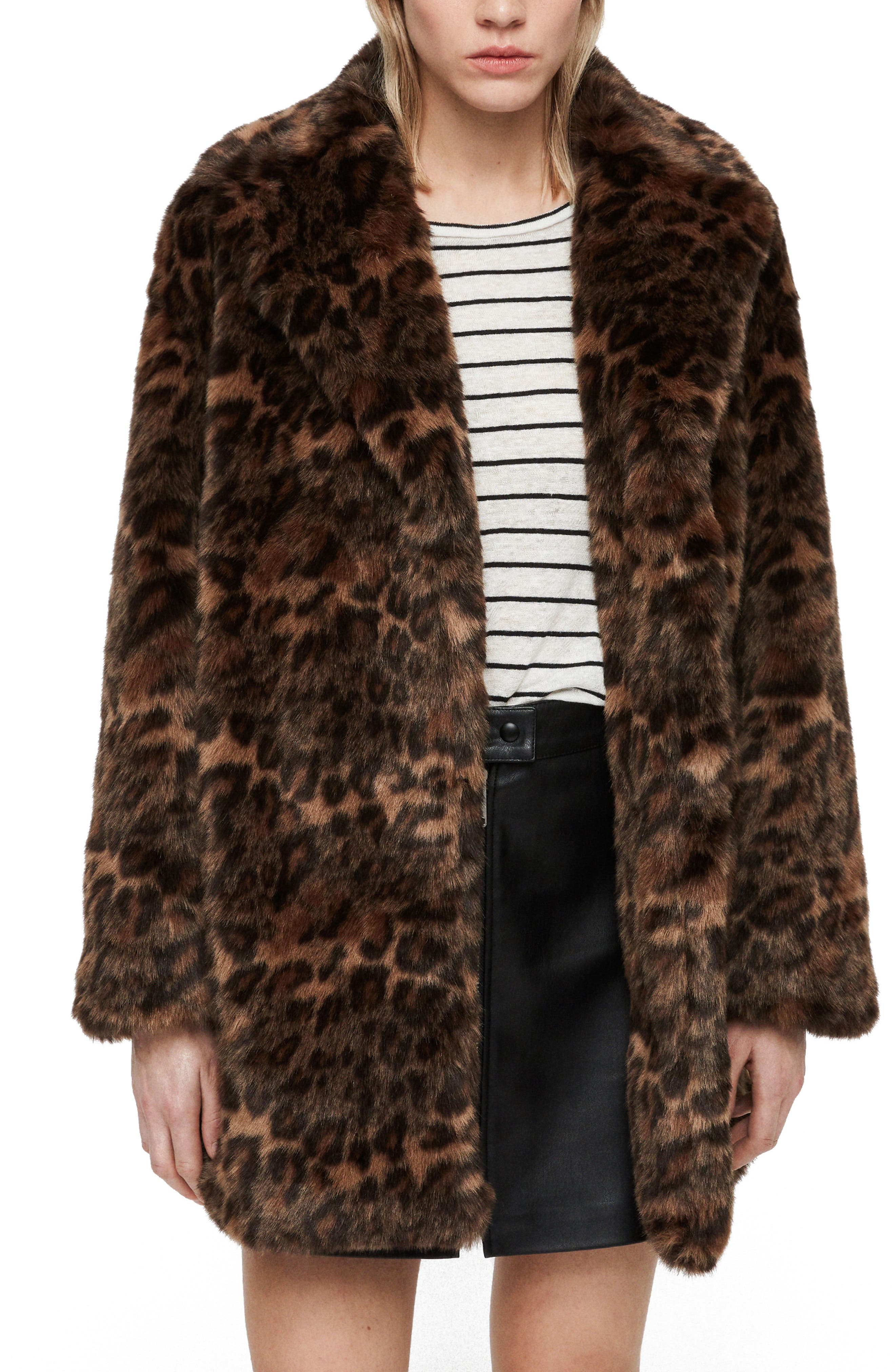 ALLSAINTS, Amice Leopard Spot Faux Fur Jacket, Main thumbnail 1, color, 200