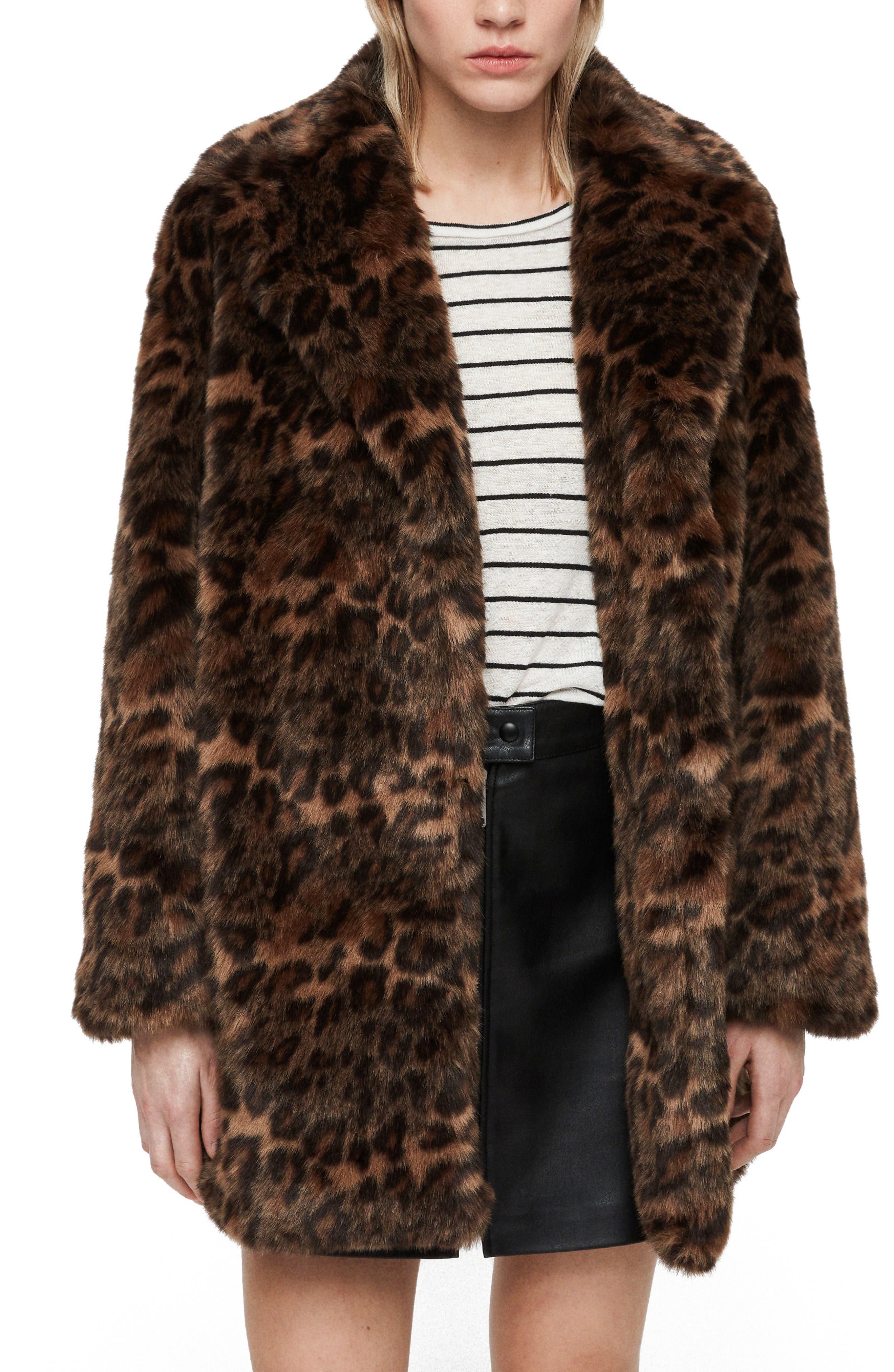 ALLSAINTS Amice Leopard Spot Faux Fur Jacket, Main, color, 200