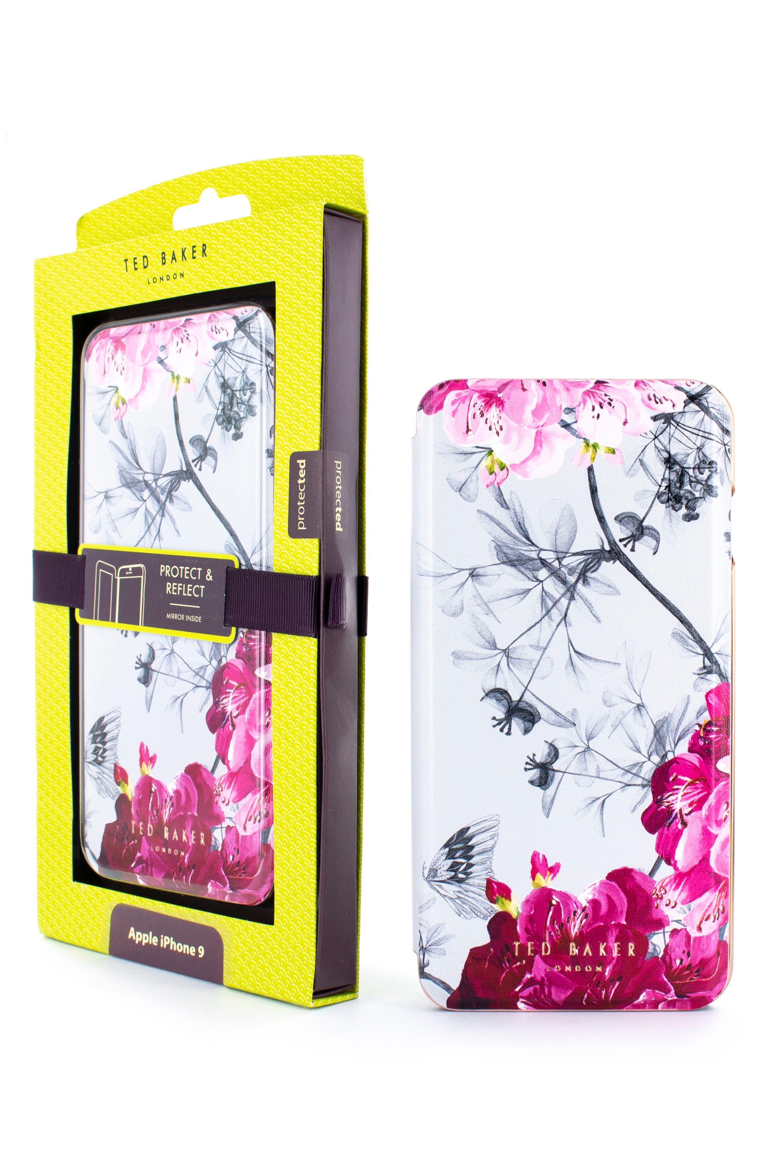 TED BAKER LONDON, Babylon iPhone X/Xs/Xs Max & XR Mirror Folio Case, Alternate thumbnail 9, color, GREY