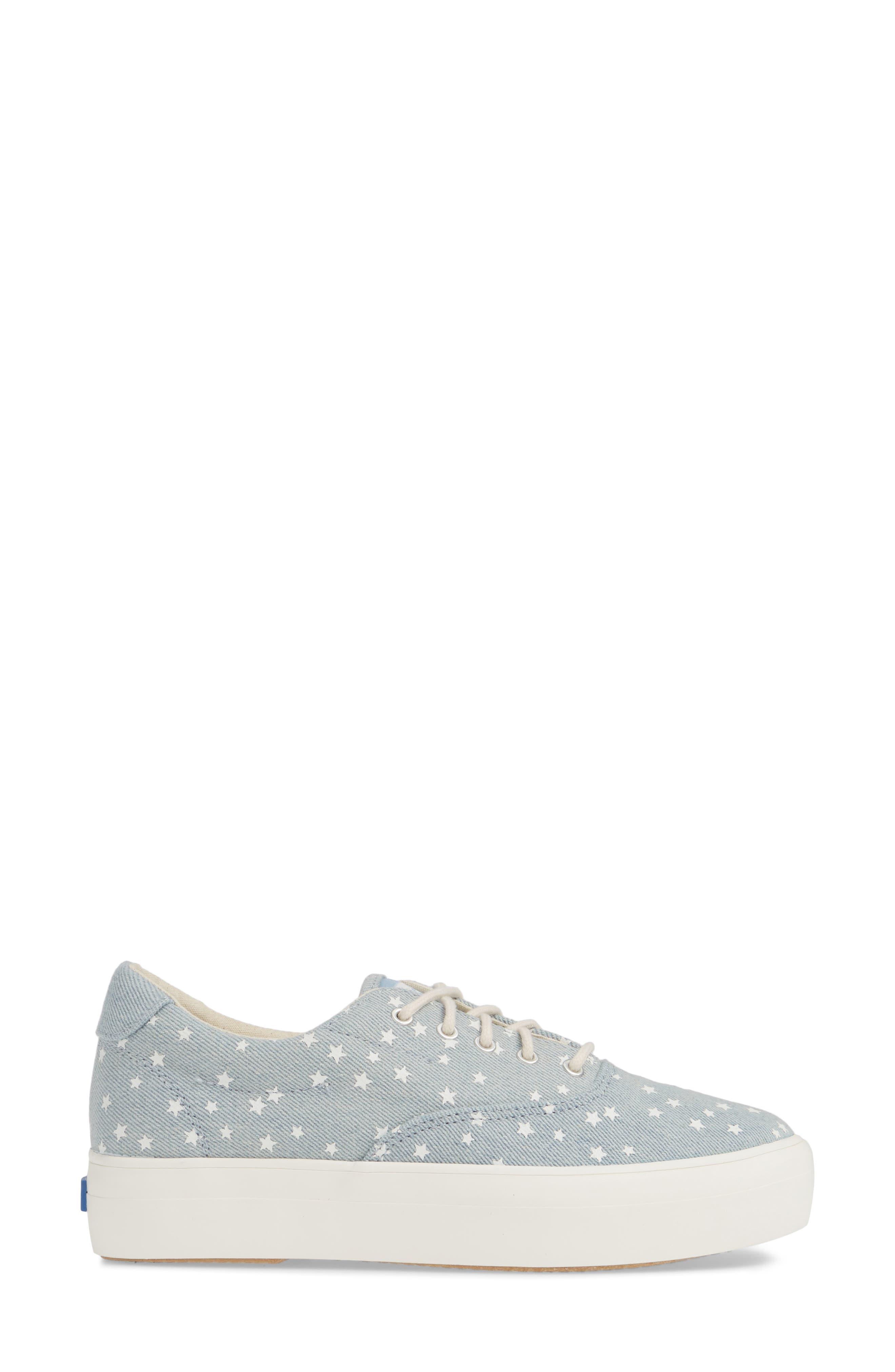 KEDS<SUP>®</SUP>, Rise Denim Star Sneaker, Alternate thumbnail 3, color, LIGHT BLUE