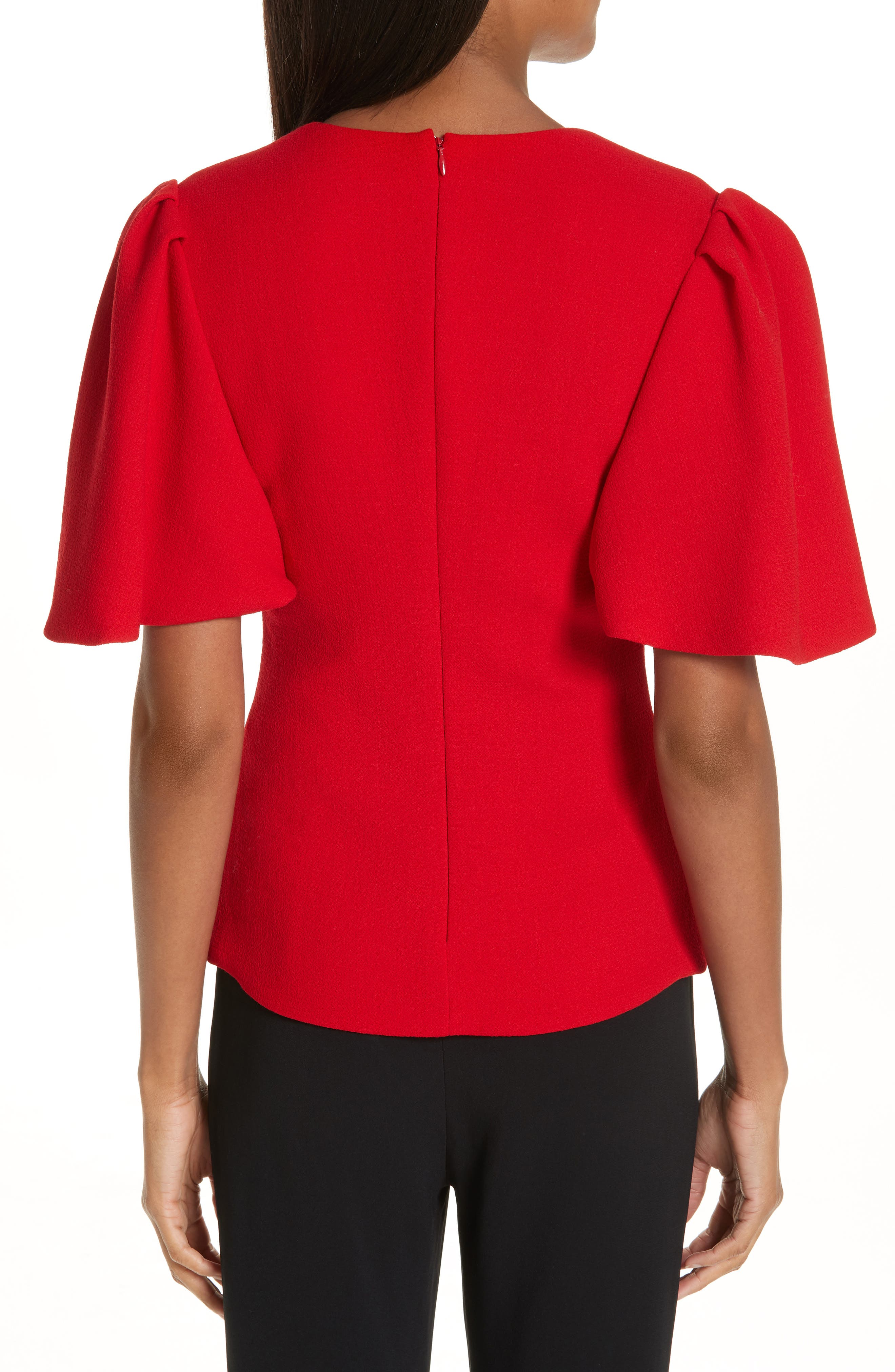 BRANDON MAXWELL, Flutter Sleeve Top, Alternate thumbnail 2, color, RED