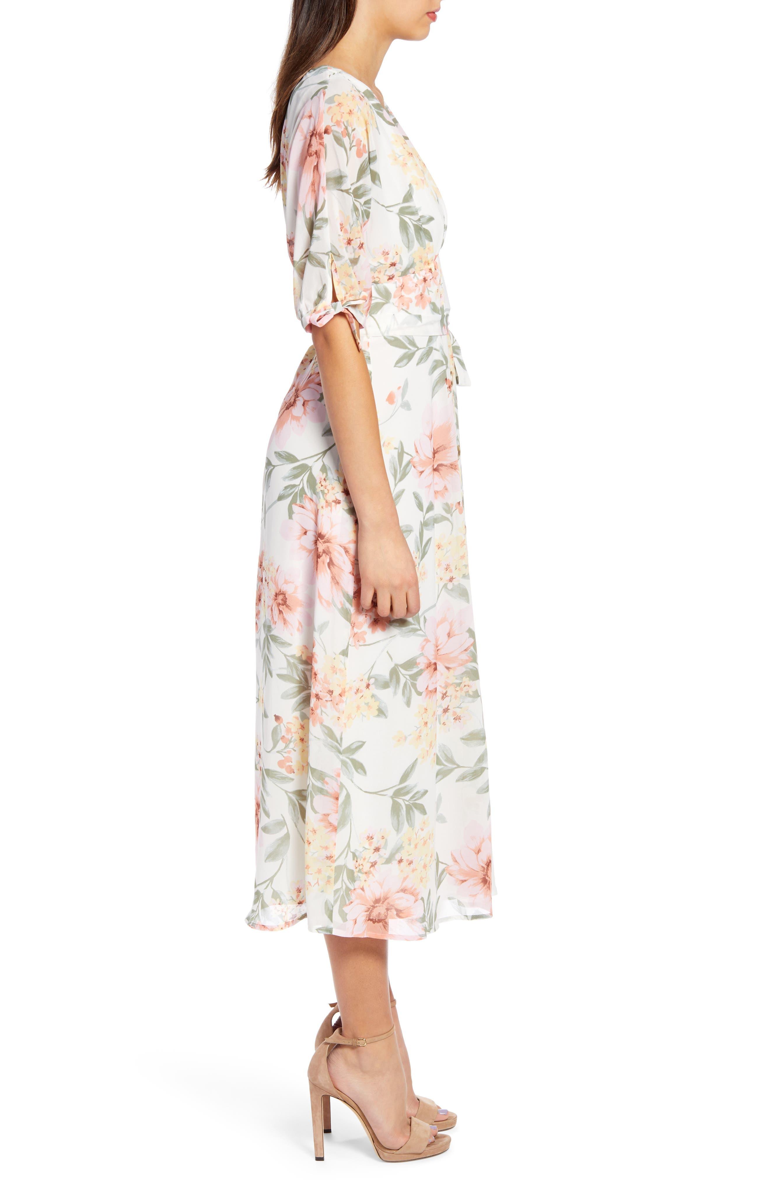 JUNE & HUDSON, Floral V-Neck Tie Front Dress, Alternate thumbnail 4, color, IVORY/ ROSE/ SAGE