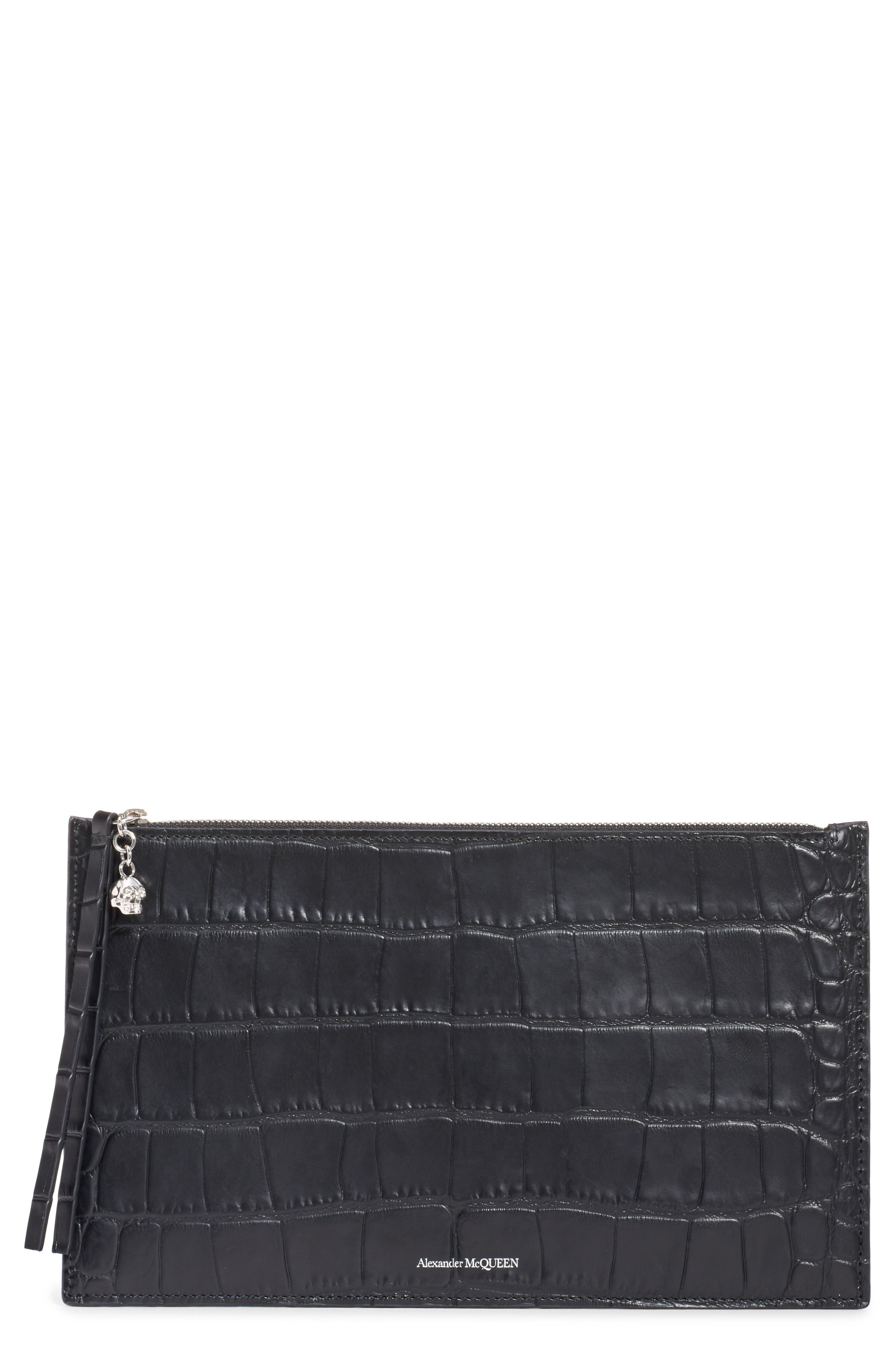 ALEXANDER MCQUEEN, Croc Embossed Leather Pouch, Main thumbnail 1, color, BLACK