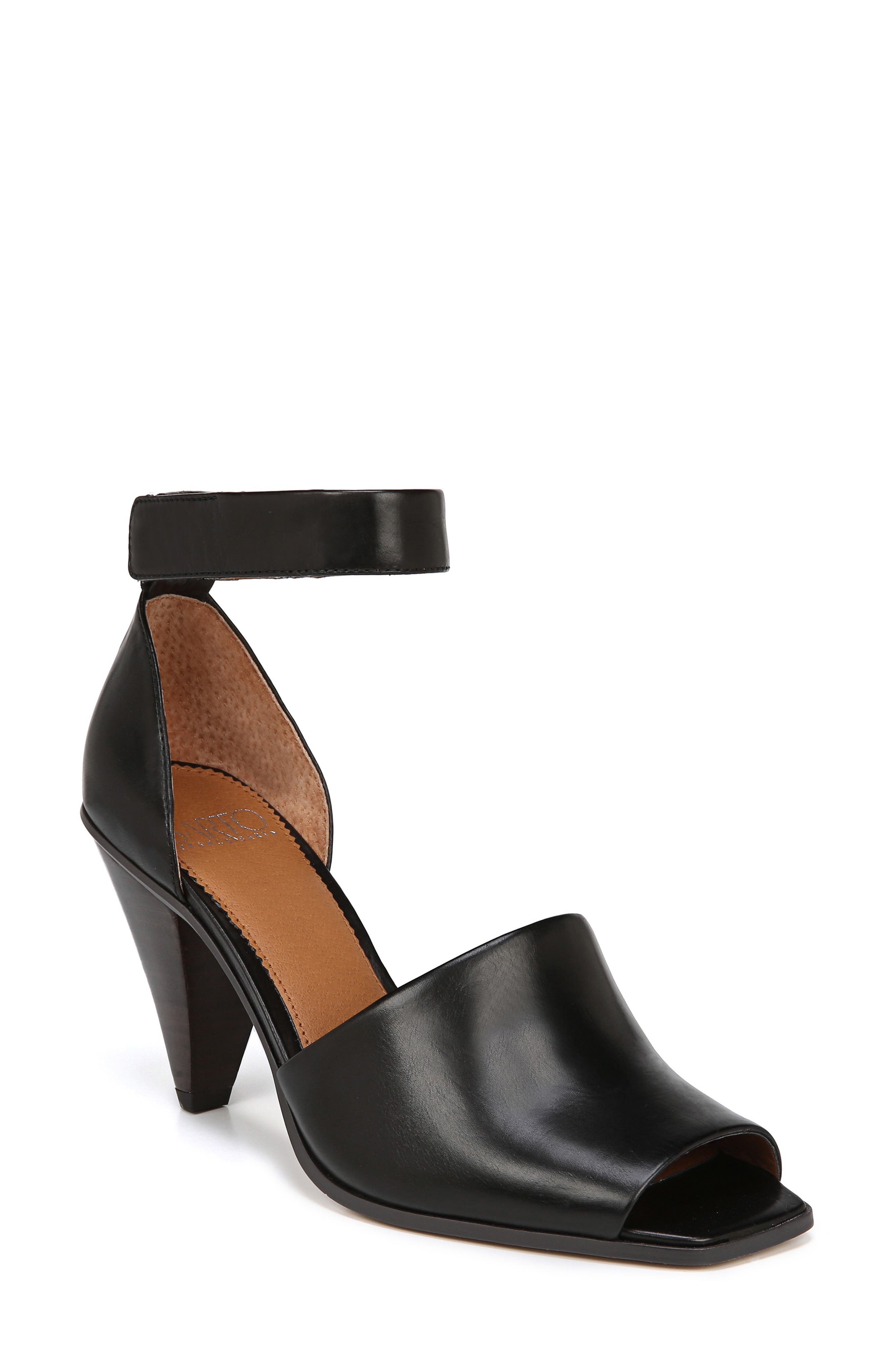 SARTO BY FRANCO SARTO, Ankle Strap Sandal, Main thumbnail 1, color, BLACK FOULARD LEATHER
