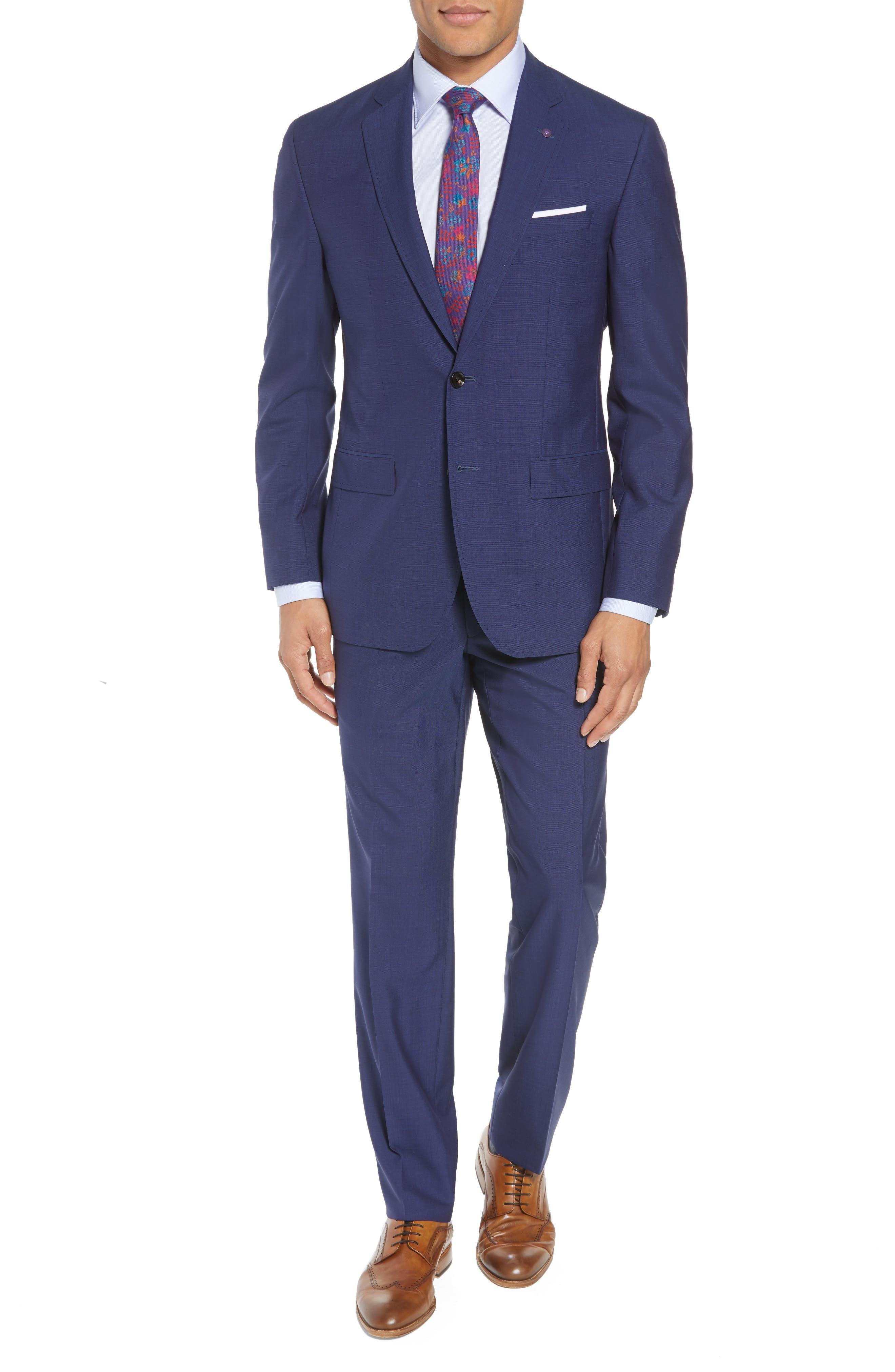 TED BAKER LONDON, Jay Trim Fit Suit, Main thumbnail 1, color, BLUE