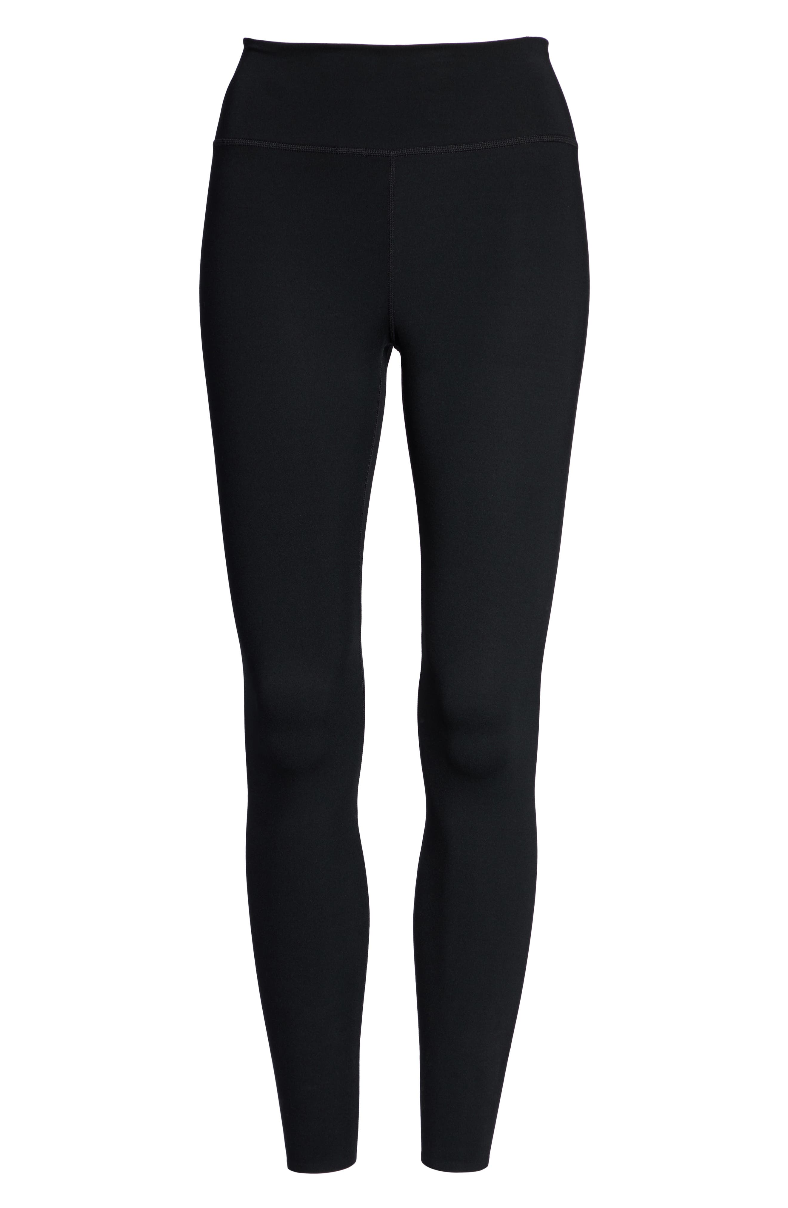 NIKE, One Lux Ankle Tights, Alternate thumbnail 7, color, BLACK/ CLEAR