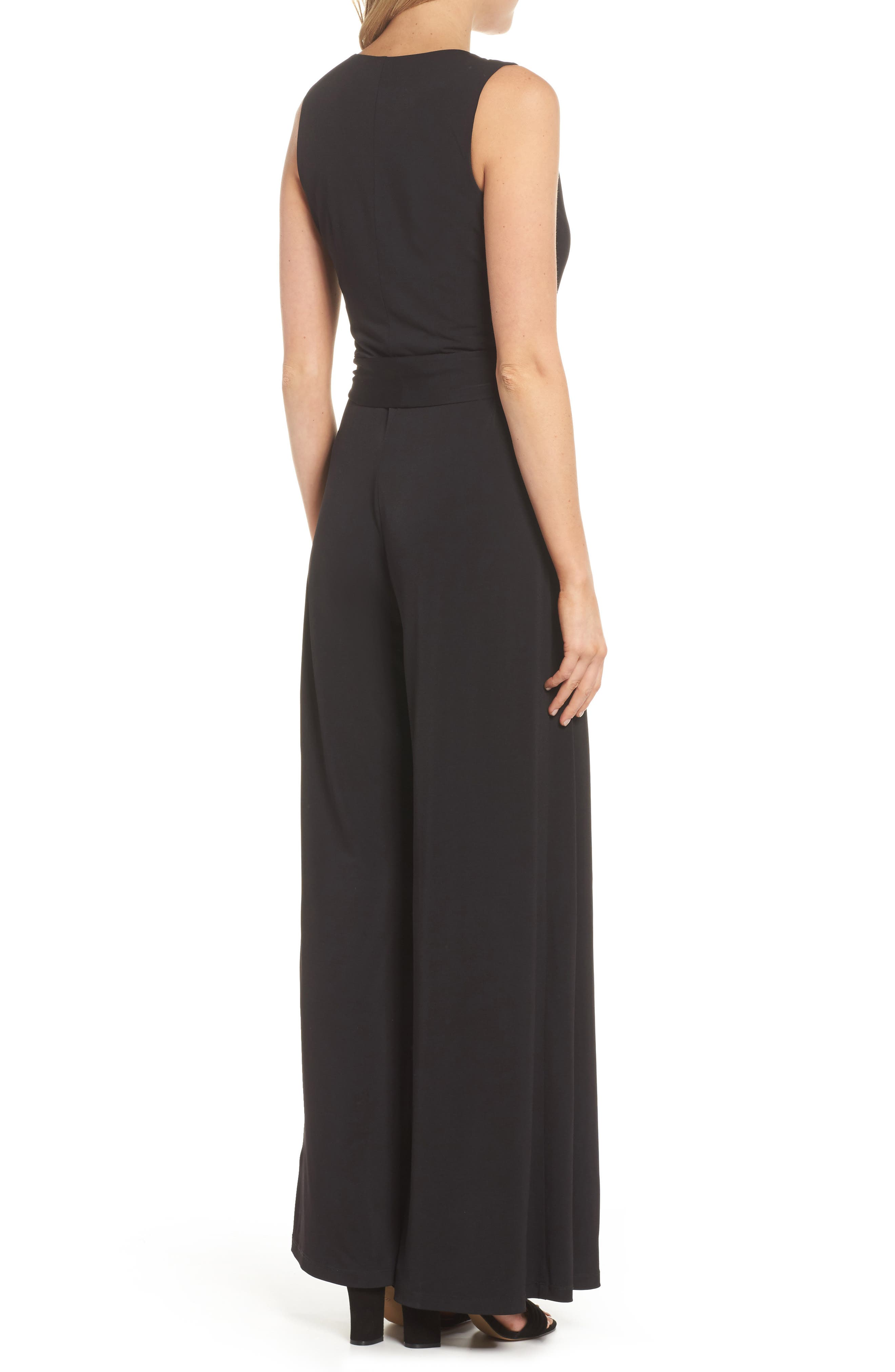 ELIZA J, Faux Wrap Wide Leg Jumpsuit, Alternate thumbnail 2, color, BLACK