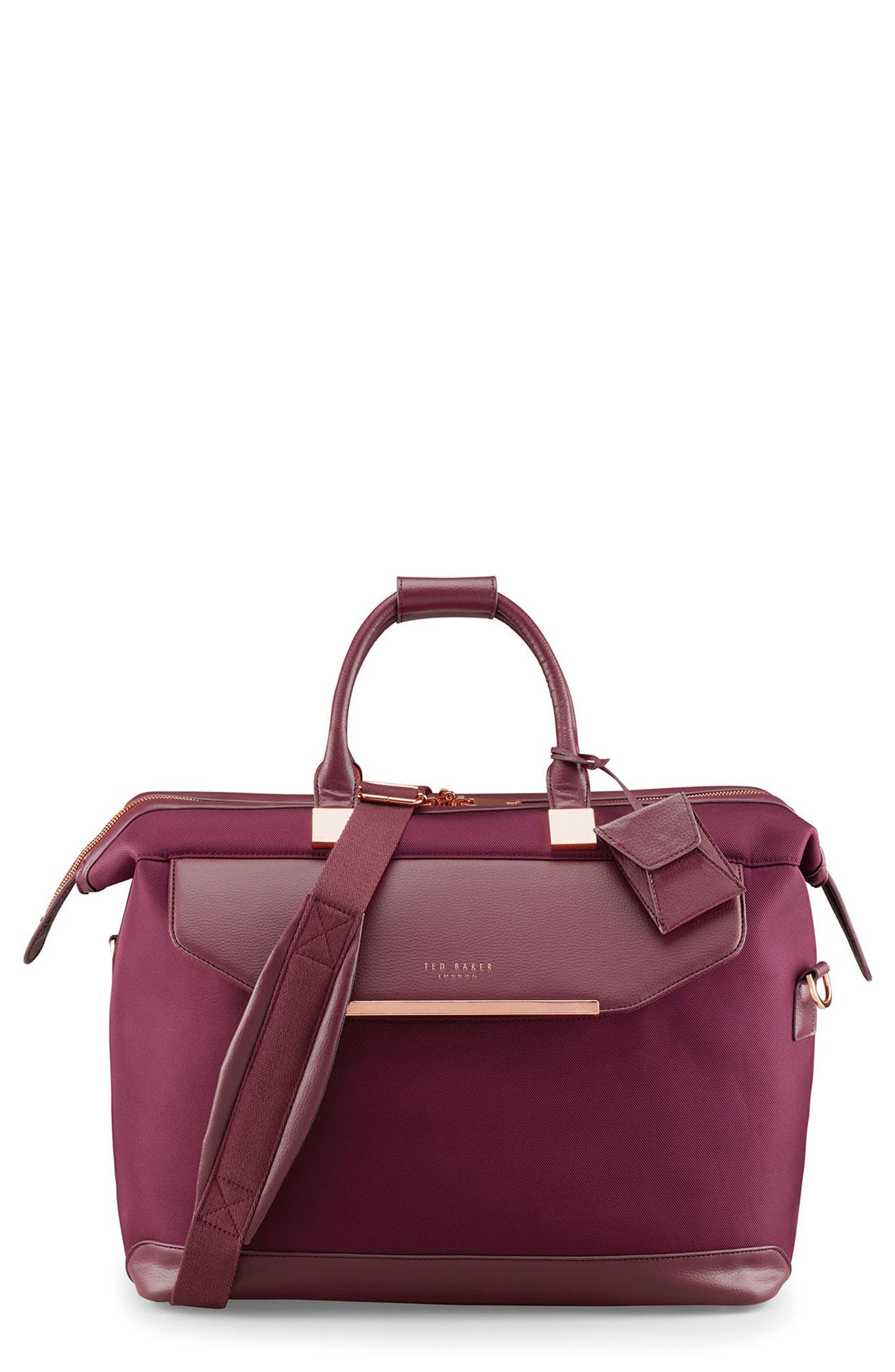 TED BAKER LONDON, Small Clipper Duffle Bag, Main thumbnail 1, color, BURGUNDY