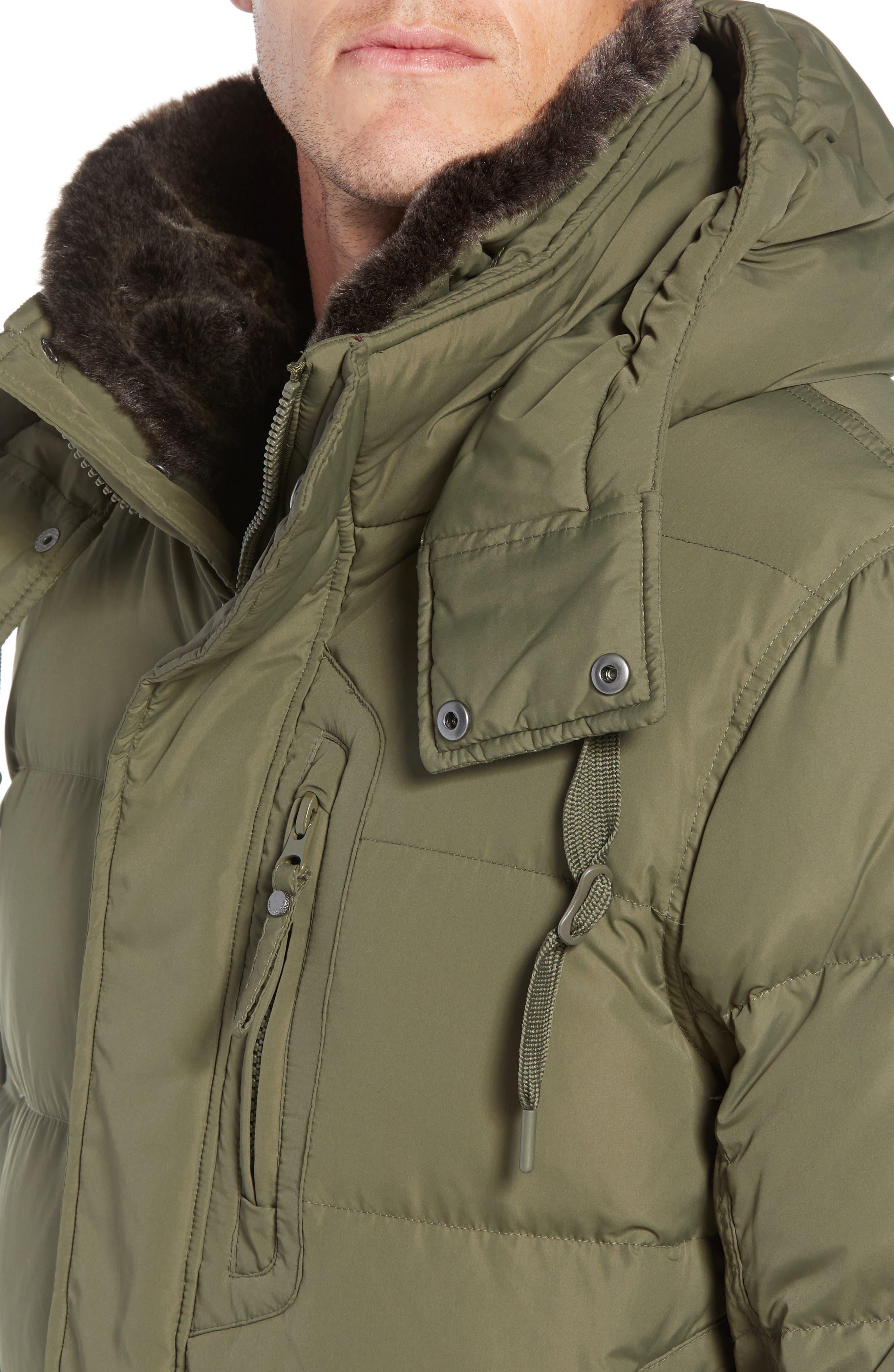 MARC NEW YORK, Baltic Faux Fur Trim Down & Feather Fill Parka, Alternate thumbnail 6, color, MOSS