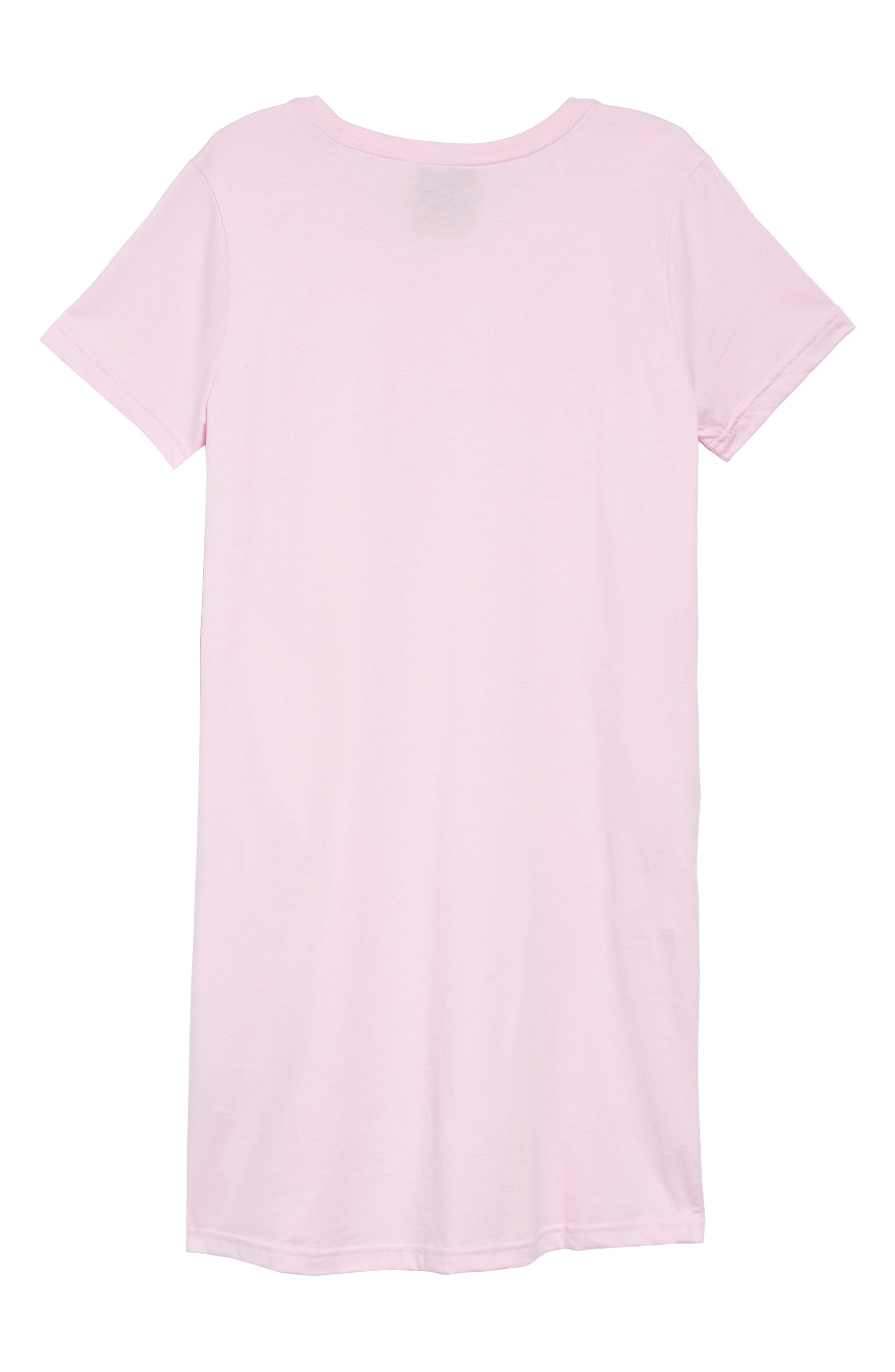 NIKE, Sportswear Logo Shirtdress, Alternate thumbnail 2, color, PINK FOAM / BORDEAUX