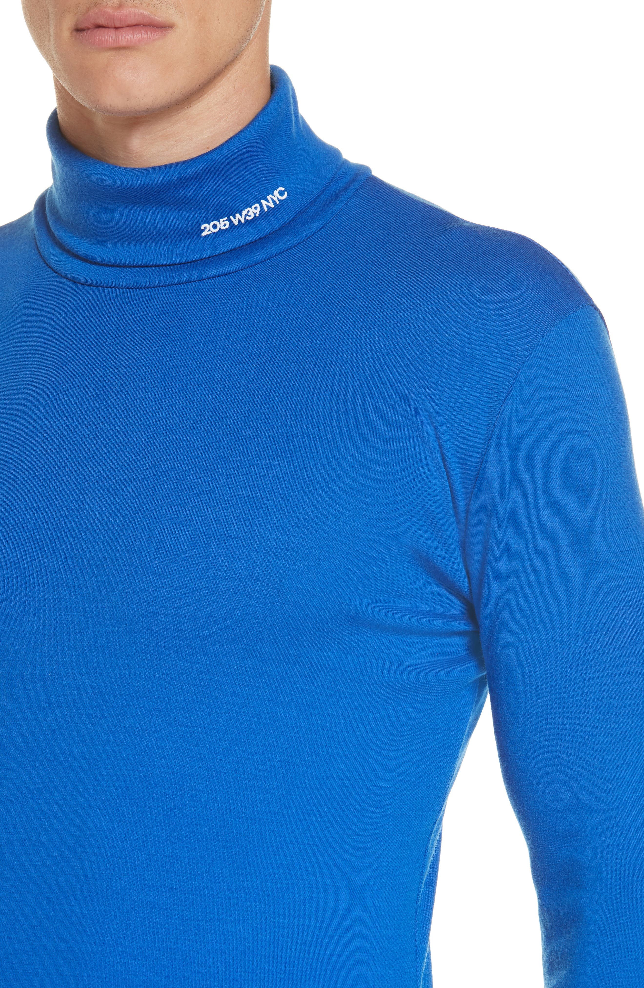 CALVIN KLEIN 205W39NYC, Wool Jersey Turtleneck, Alternate thumbnail 4, color, BRIGHT BLUE