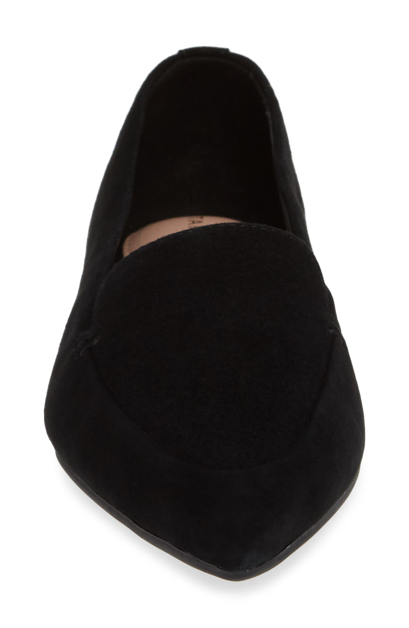 TARYN ROSE, Faye Pointy Toe Loafer, Alternate thumbnail 4, color, BLACK/ BLACK SUEDE