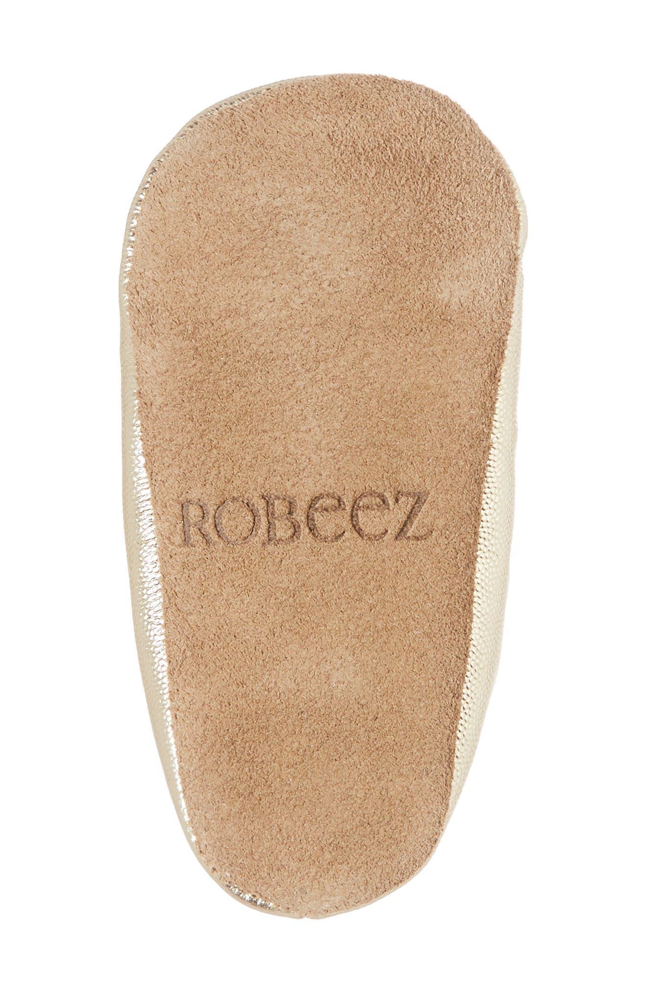 ROBEEZ<SUP>®</SUP>, Athena Ballet Strap Crib Shoe, Alternate thumbnail 6, color, GOLD