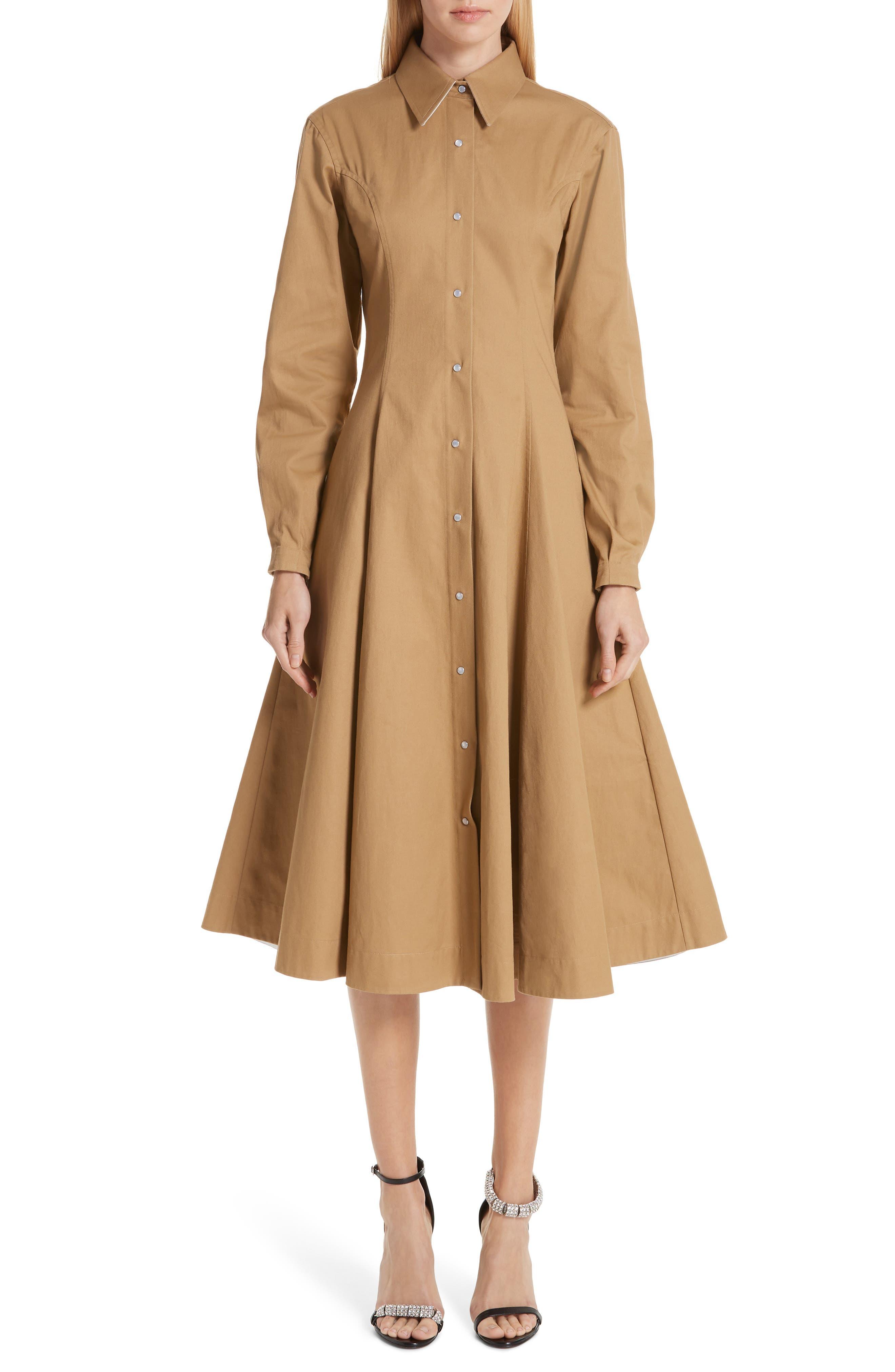 CALVIN KLEIN 205W39NYC, Western Twill A-Line Midi Dress, Main thumbnail 1, color, DUNE