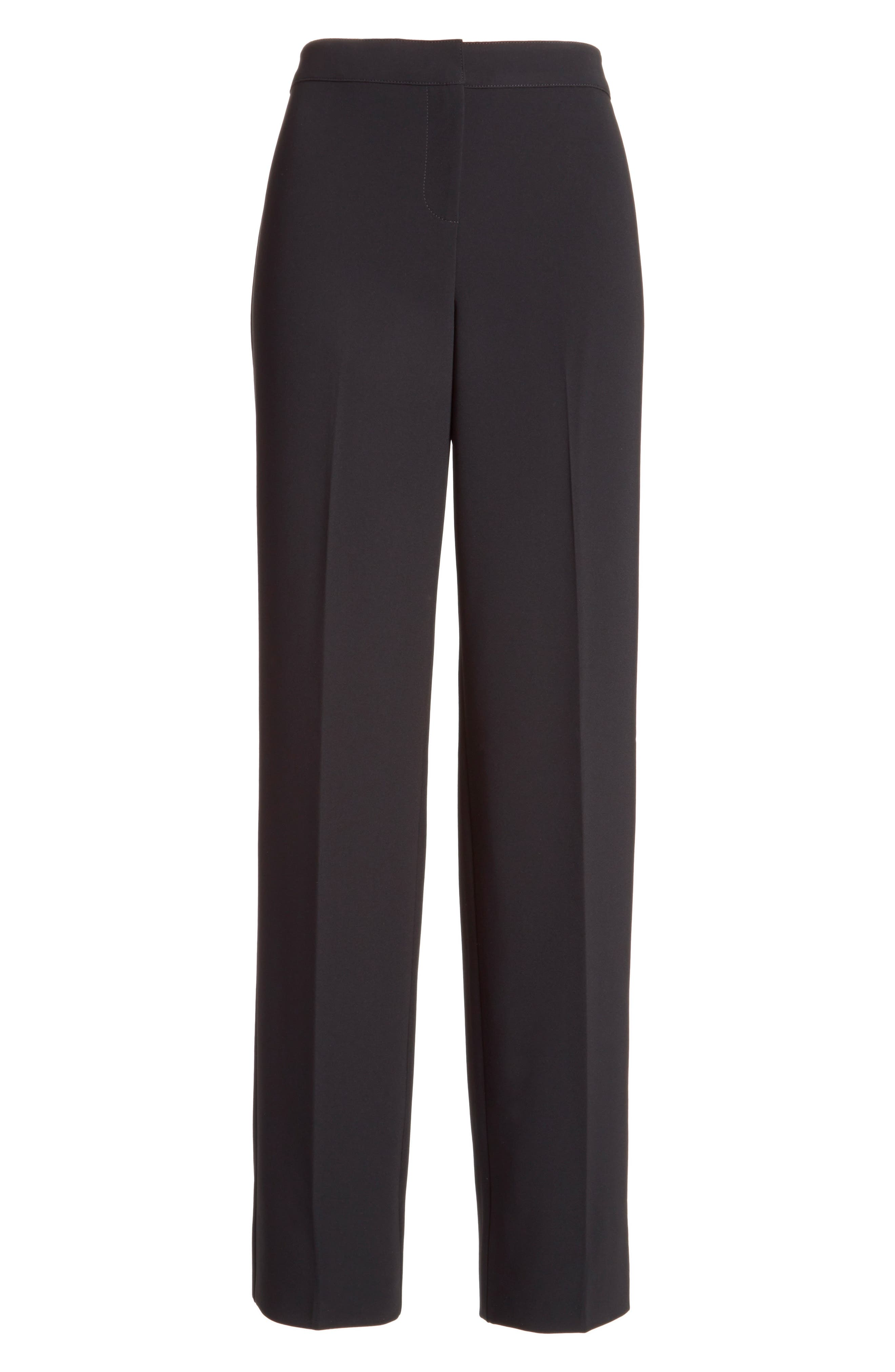 ST. JOHN COLLECTION, Diana Straight Leg Crepe Marocain Pants, Alternate thumbnail 7, color, CAVIAR
