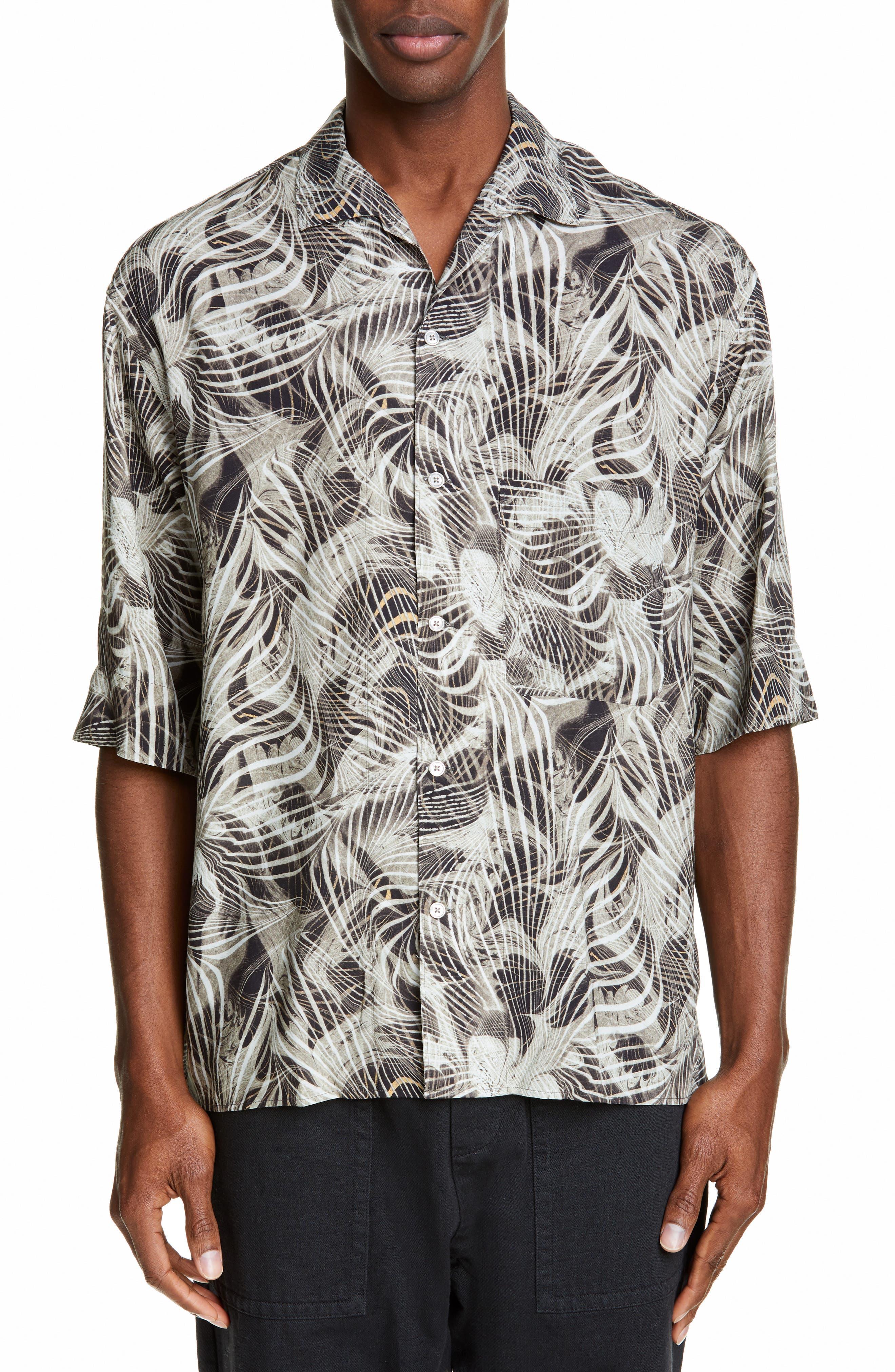 LEMAIRE, Tropical Print Sport Shirt, Main thumbnail 1, color, CHALK BLACK
