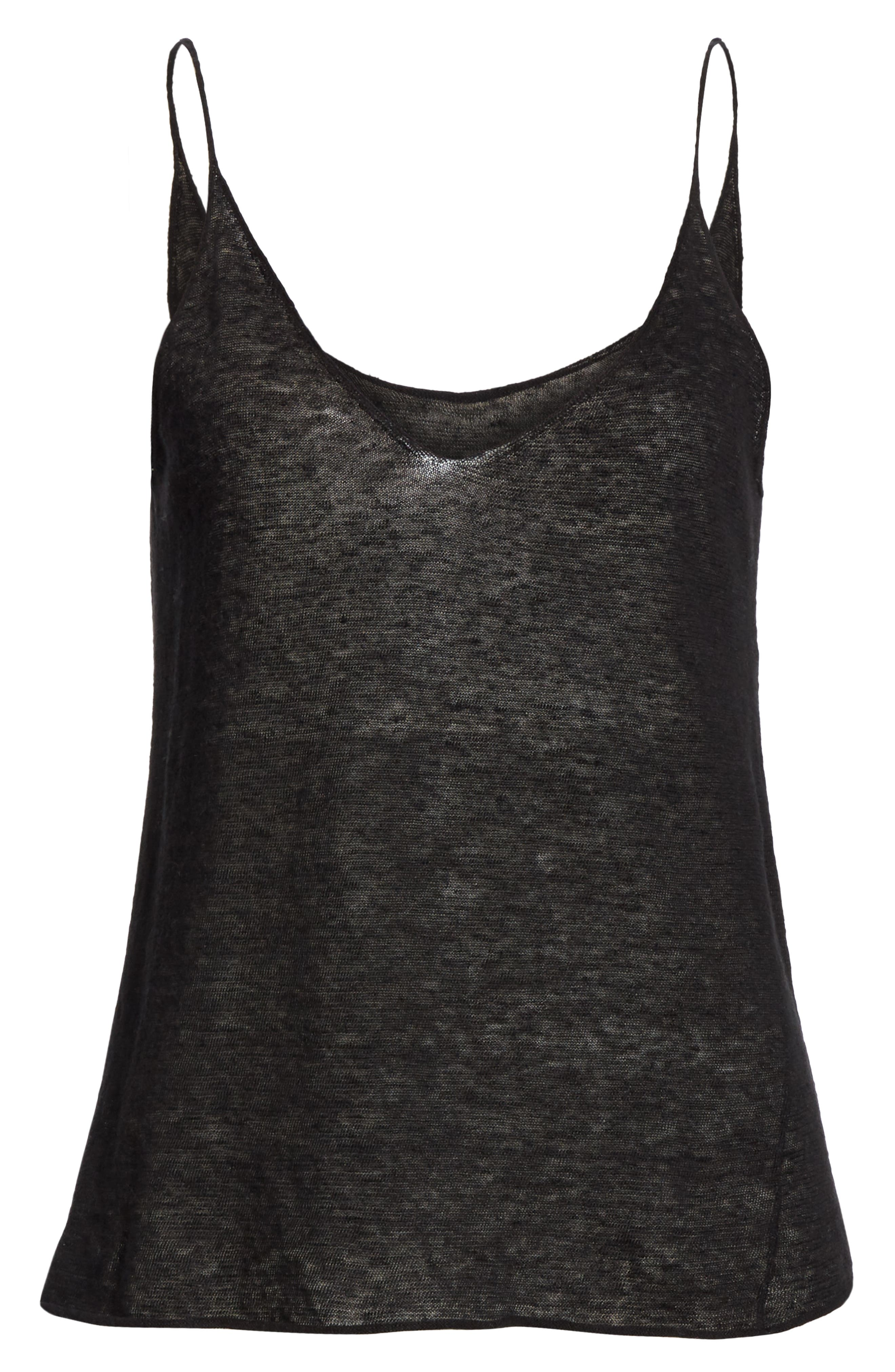 NILI LOTAN, Linen Sweater Tank, Alternate thumbnail 6, color, BLACK