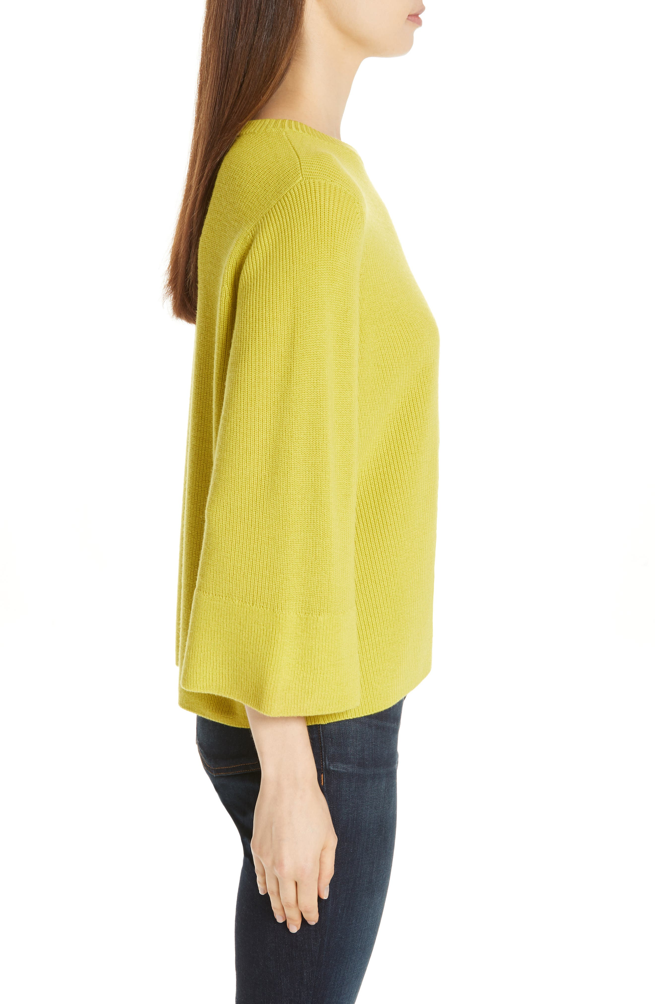 EILEEN FISHER, Three Quarter Sleeve Sweater, Alternate thumbnail 3, color, VERBENA