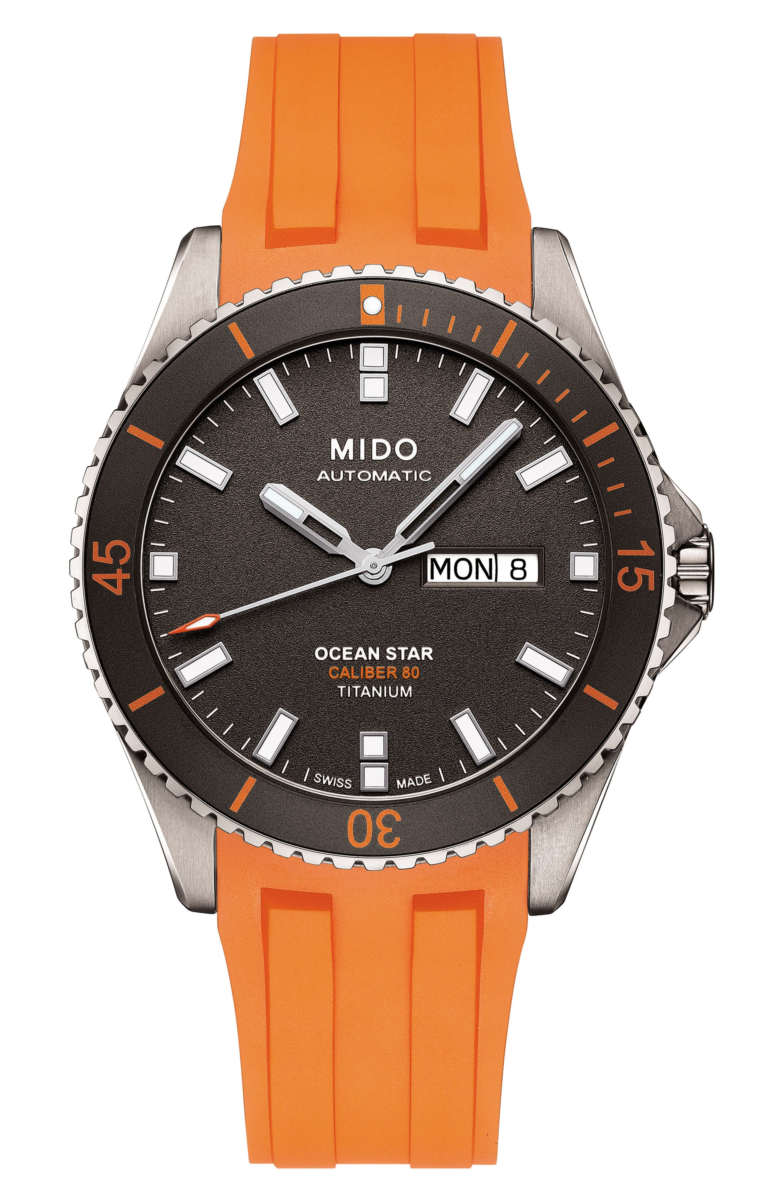 MIDO, Ocean Star Automatic Rubber Strap Watch, 42mm, Main thumbnail 1, color, GREY