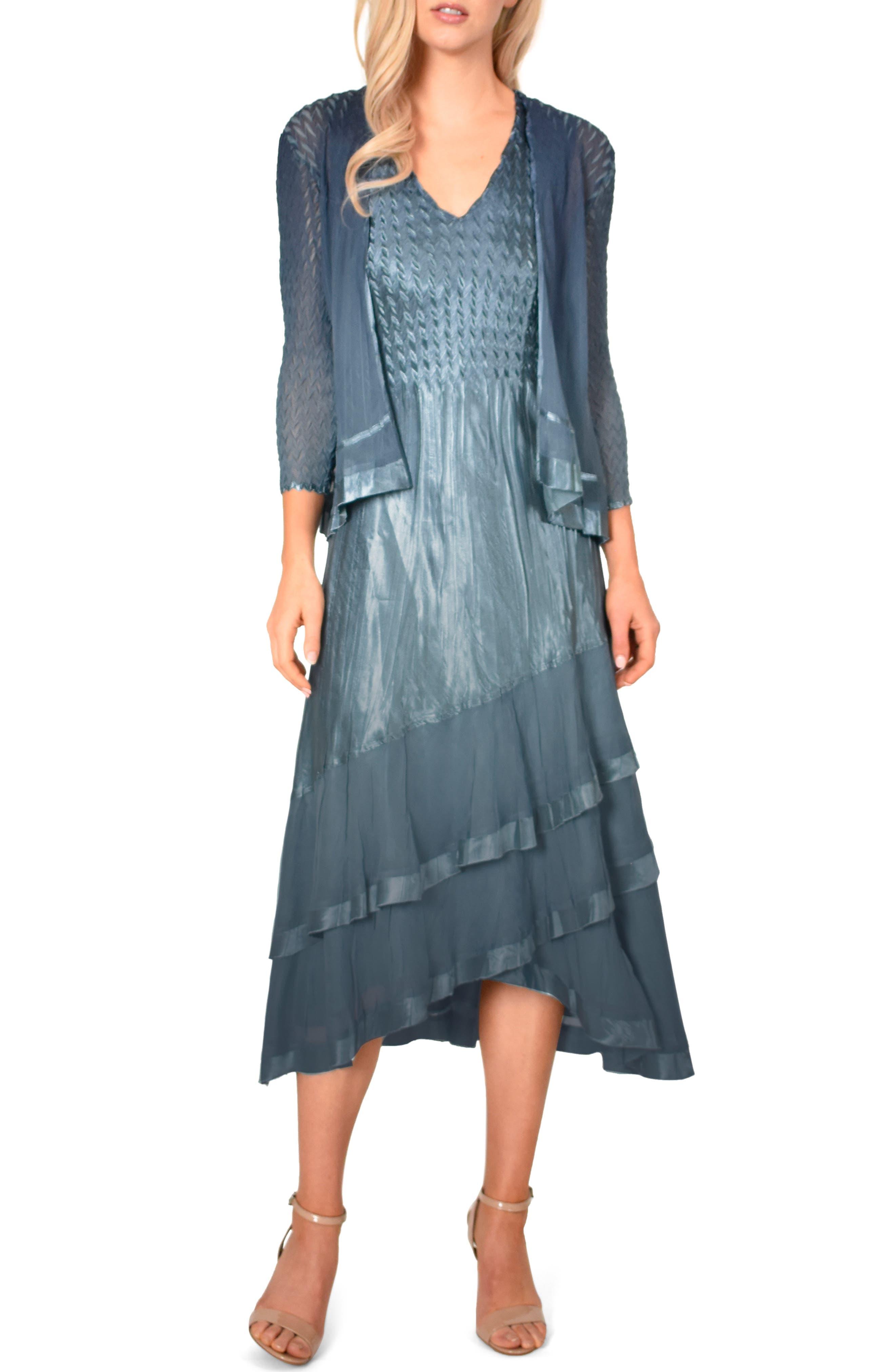 KOMAROV Asymmetrical Jacket Dress, Main, color, SILVER BLUE NIGHT OMBRE