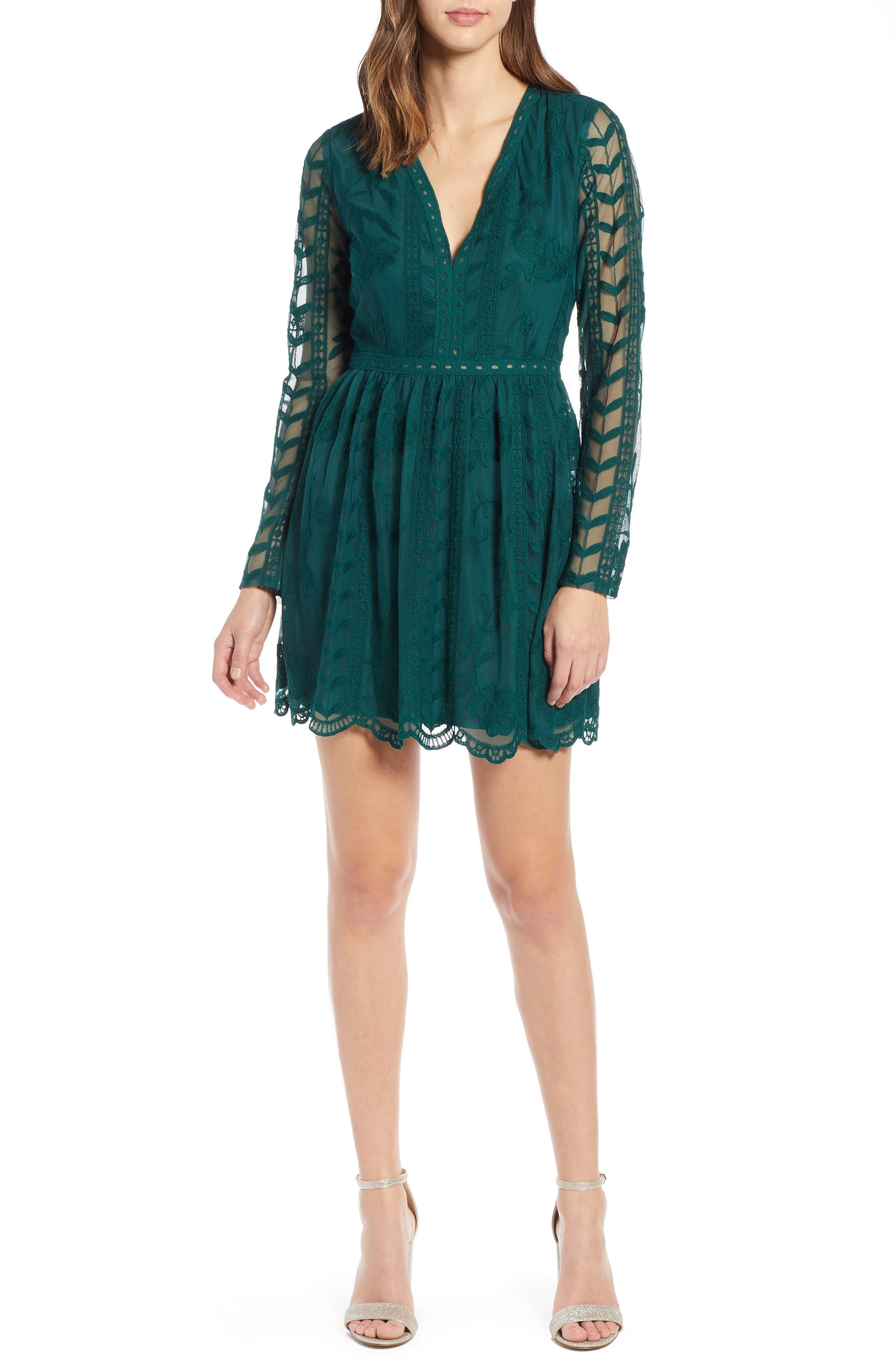 SOCIALITE, Long Sleeve V-Neck Lace Dress, Main thumbnail 1, color, 300