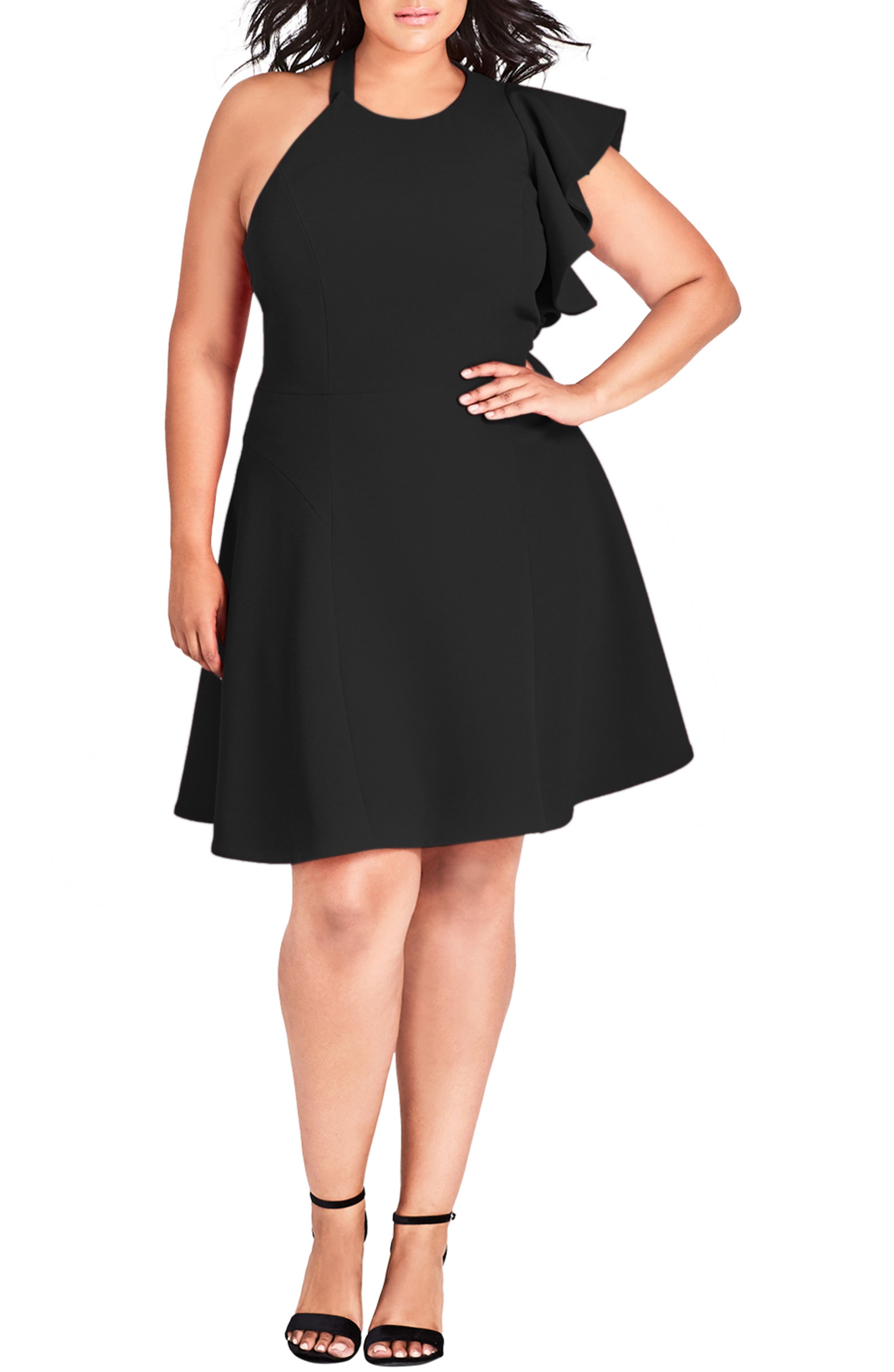 Plus Size City Chic Classy Star One Shoulder Fit & Flare Dress, Black