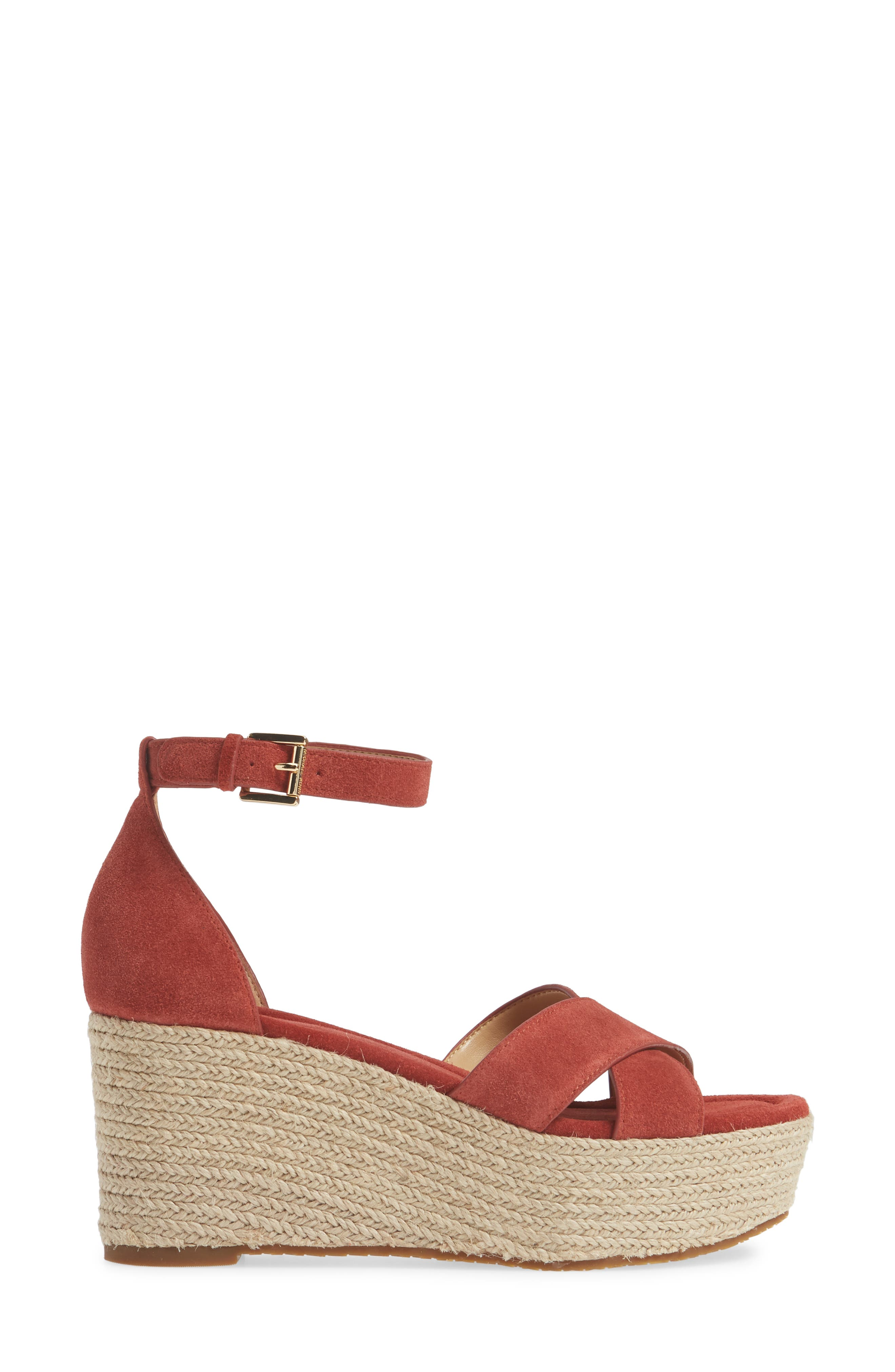 MICHAEL MICHAEL KORS, Desiree Jute Espadrille Wedge, Alternate thumbnail 3, color, TERRACOTTA SUEDE
