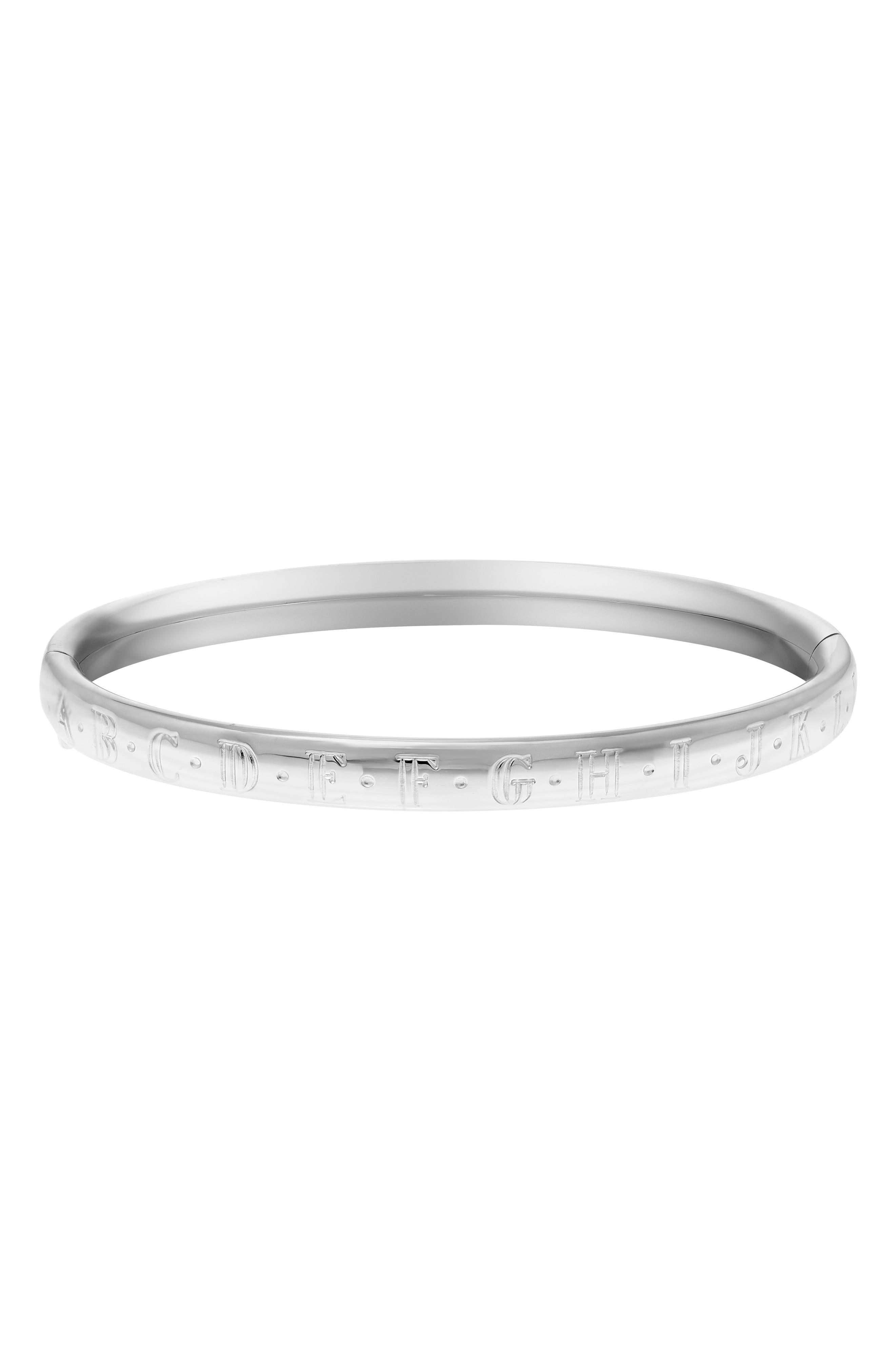 MIGNONETTE, Alphabet Sterling Silver Bracelet, Alternate thumbnail 2, color, STERLING SILVER