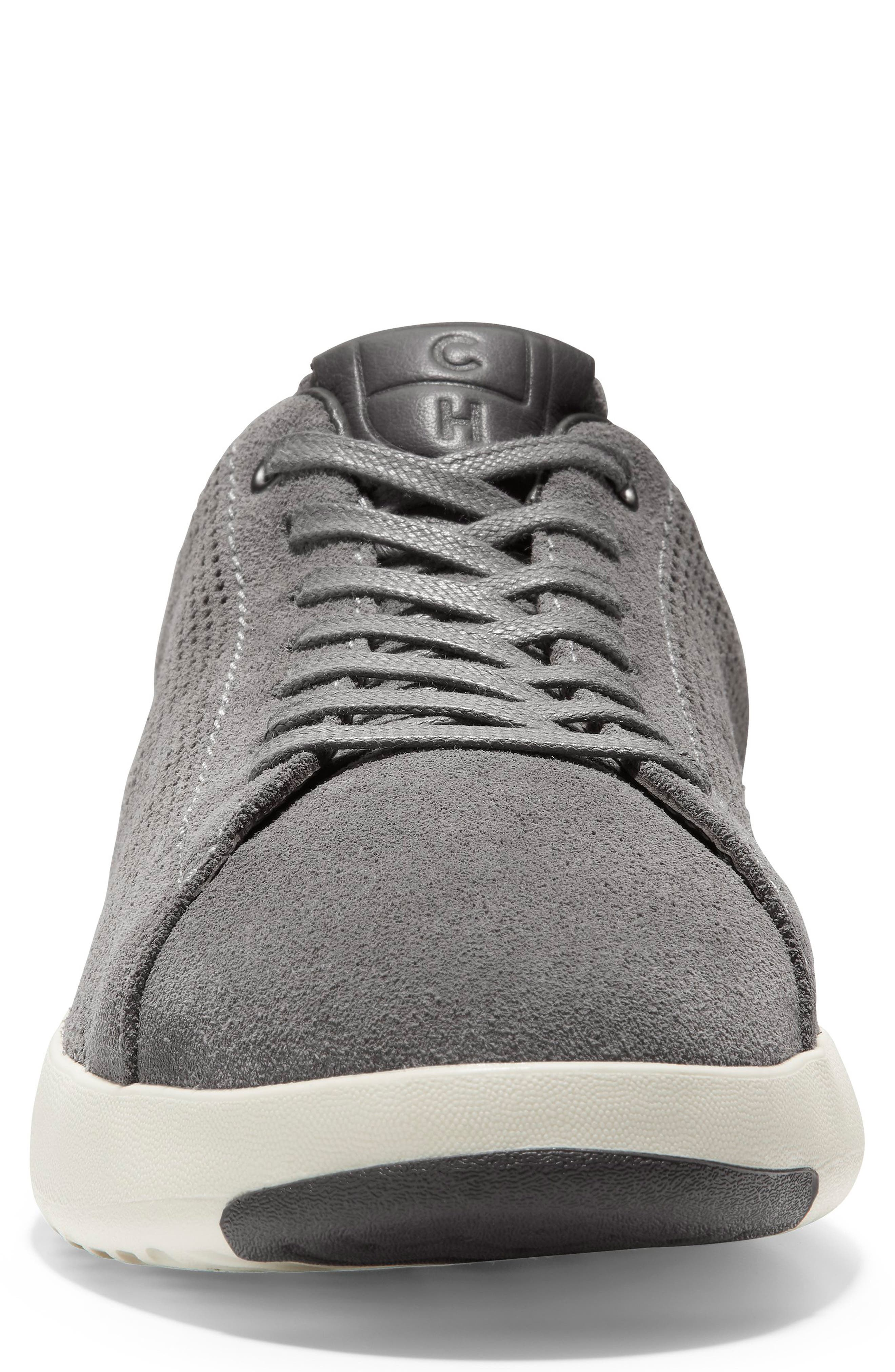 COLE HAAN, GrandPro Tennis Sneaker, Alternate thumbnail 4, color, GREY SUEDE