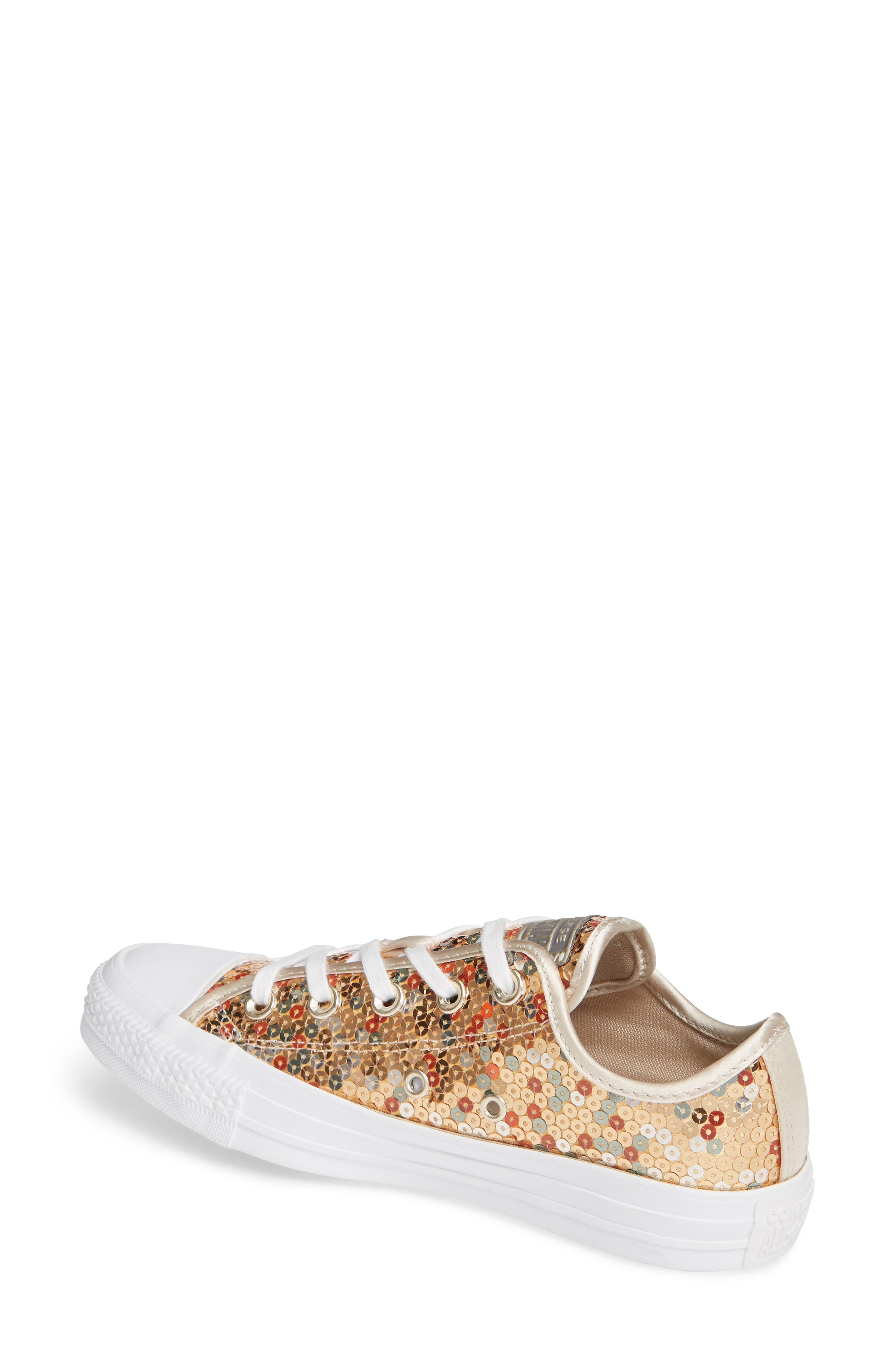 CONVERSE, Chuck Taylor<sup>®</sup> All Star<sup>®</sup> Sequin Low Top Sneaker, Alternate thumbnail 2, color, GOLD SEQUINS