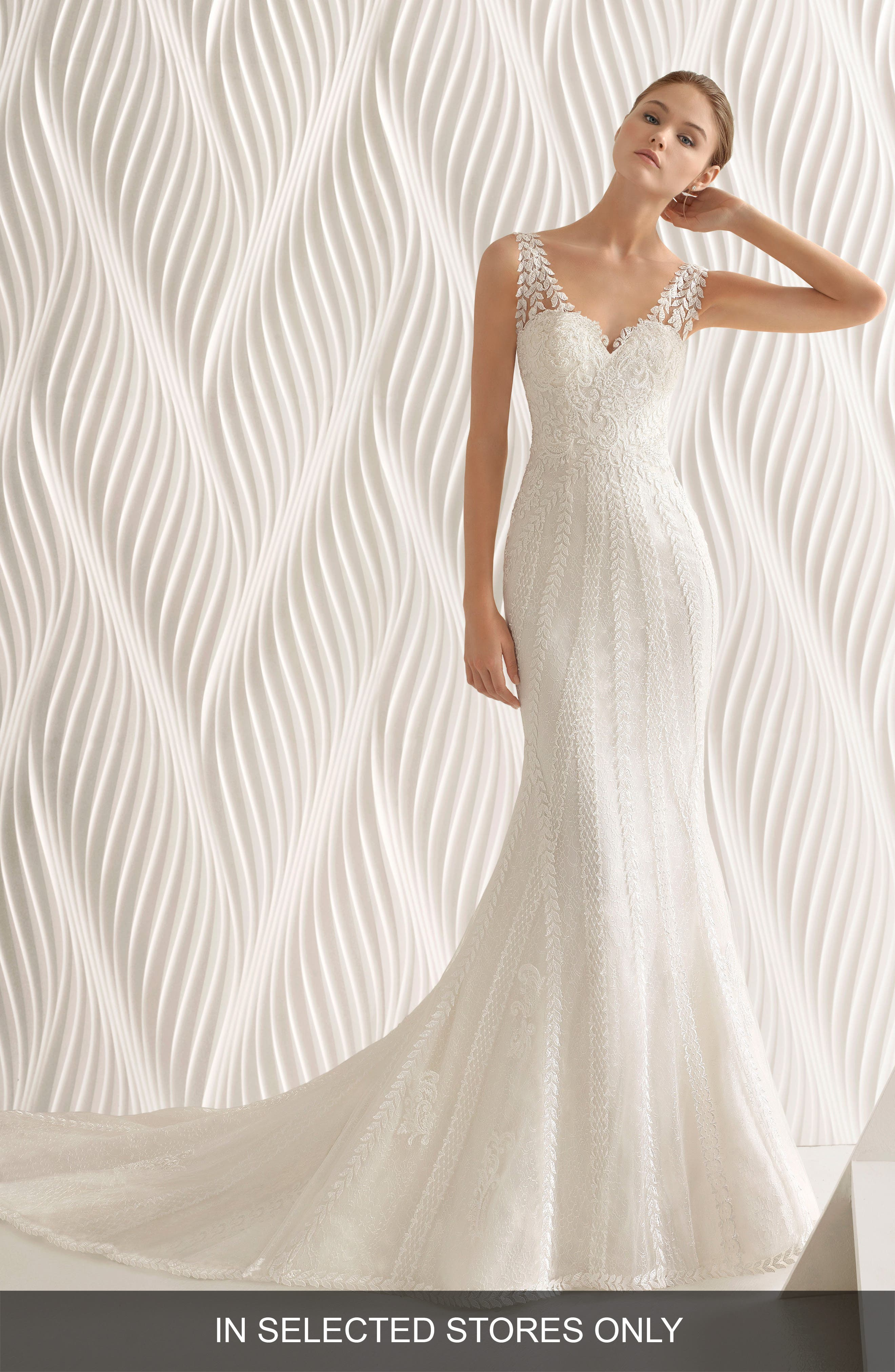 ROSA CLARÁ Adelfa Embellished Lace Mermaid Gown, Main, color, NATURAL