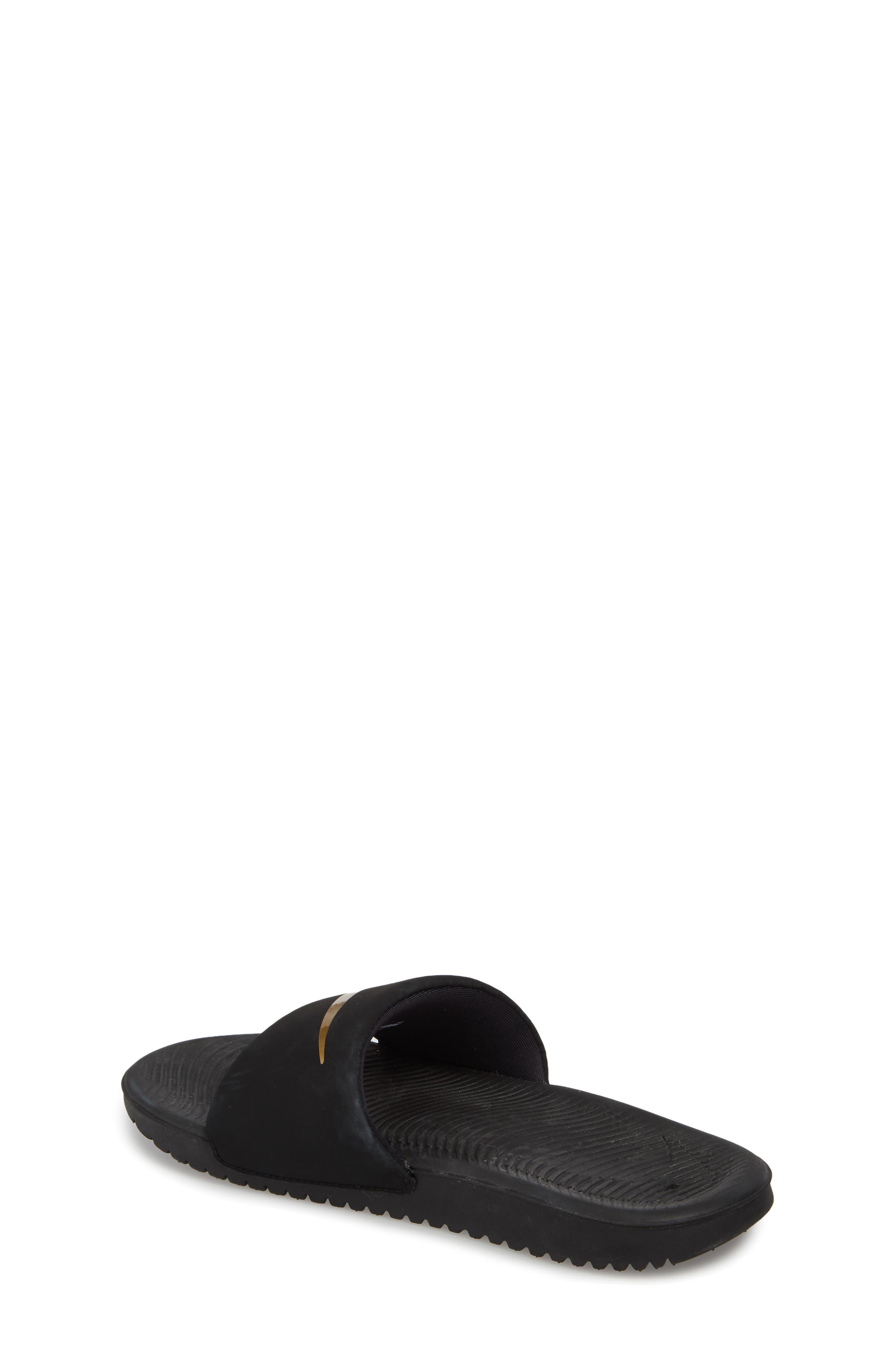 NIKE, 'Kawa' Slide Sandal, Alternate thumbnail 2, color, BLACK/ METALLIC GOLD