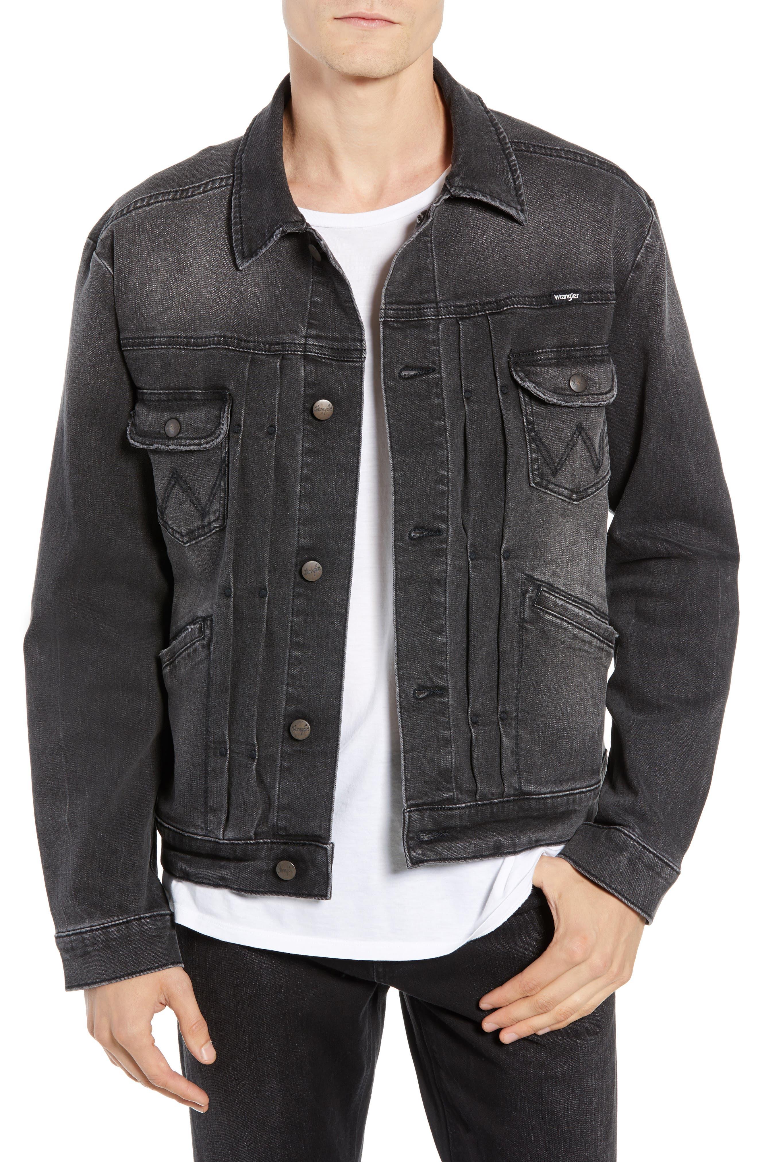 WRANGLER, Heritage Pleated Denim Jacket, Main thumbnail 1, color, 020