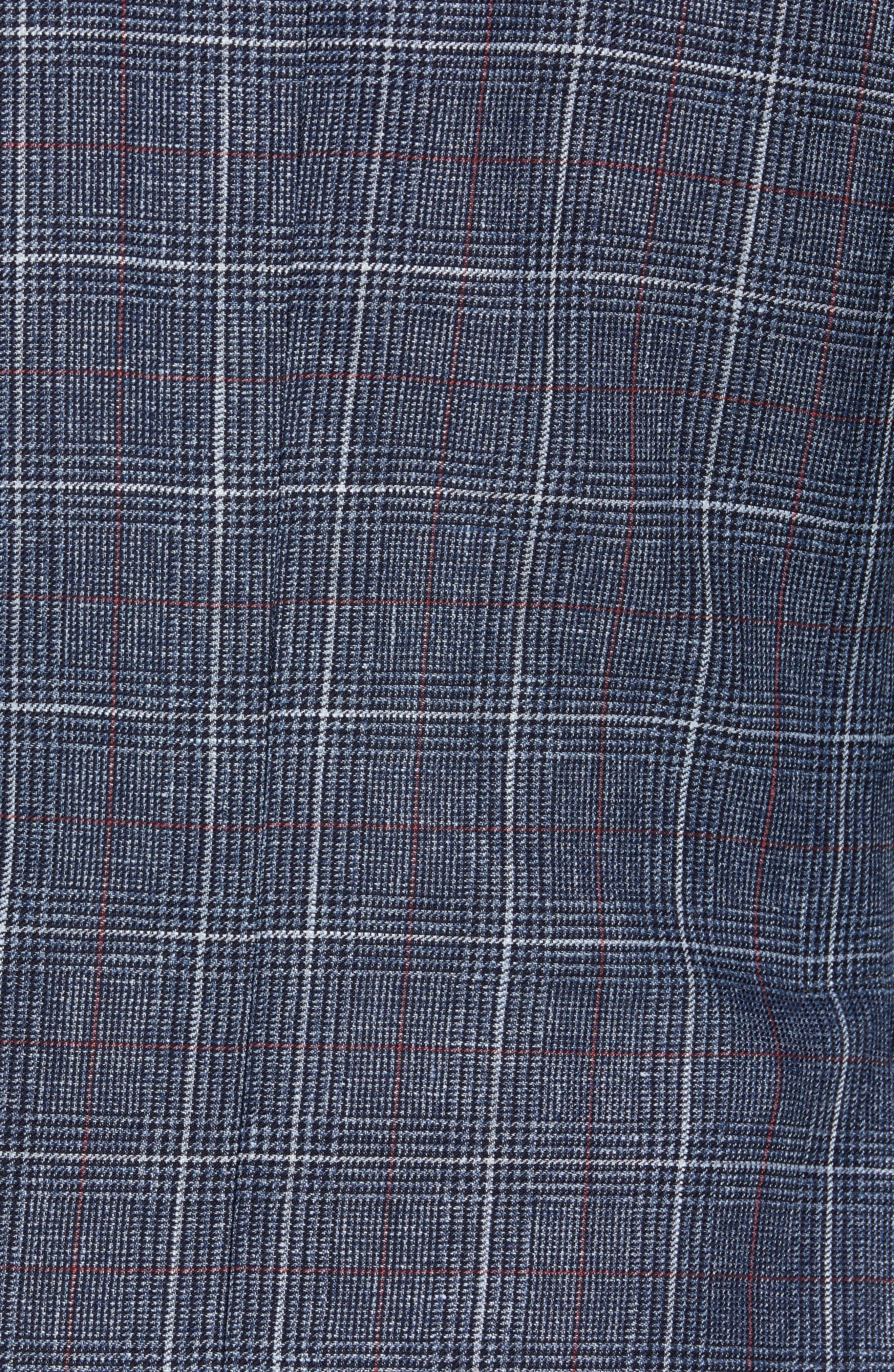 TED BAKER LONDON, Kyle Trim Fit Plaid Linen Blend Sport Coat, Alternate thumbnail 6, color, BLUE