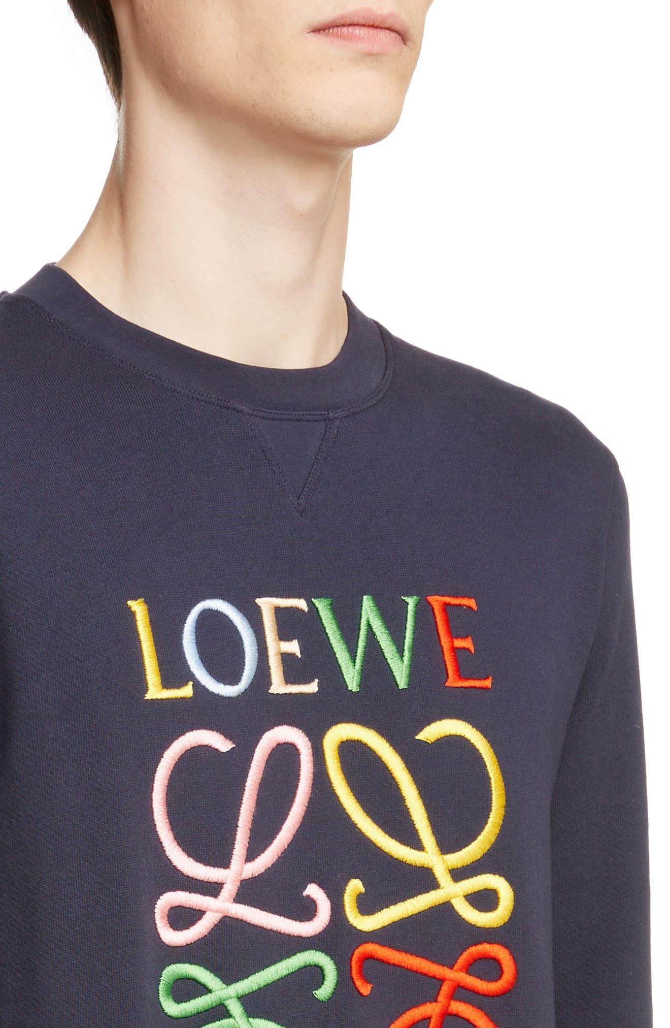 LOEWE, Anagram Sweatshirt, Alternate thumbnail 4, color, 5387-NAVY BLUE/ MULTICOLOR
