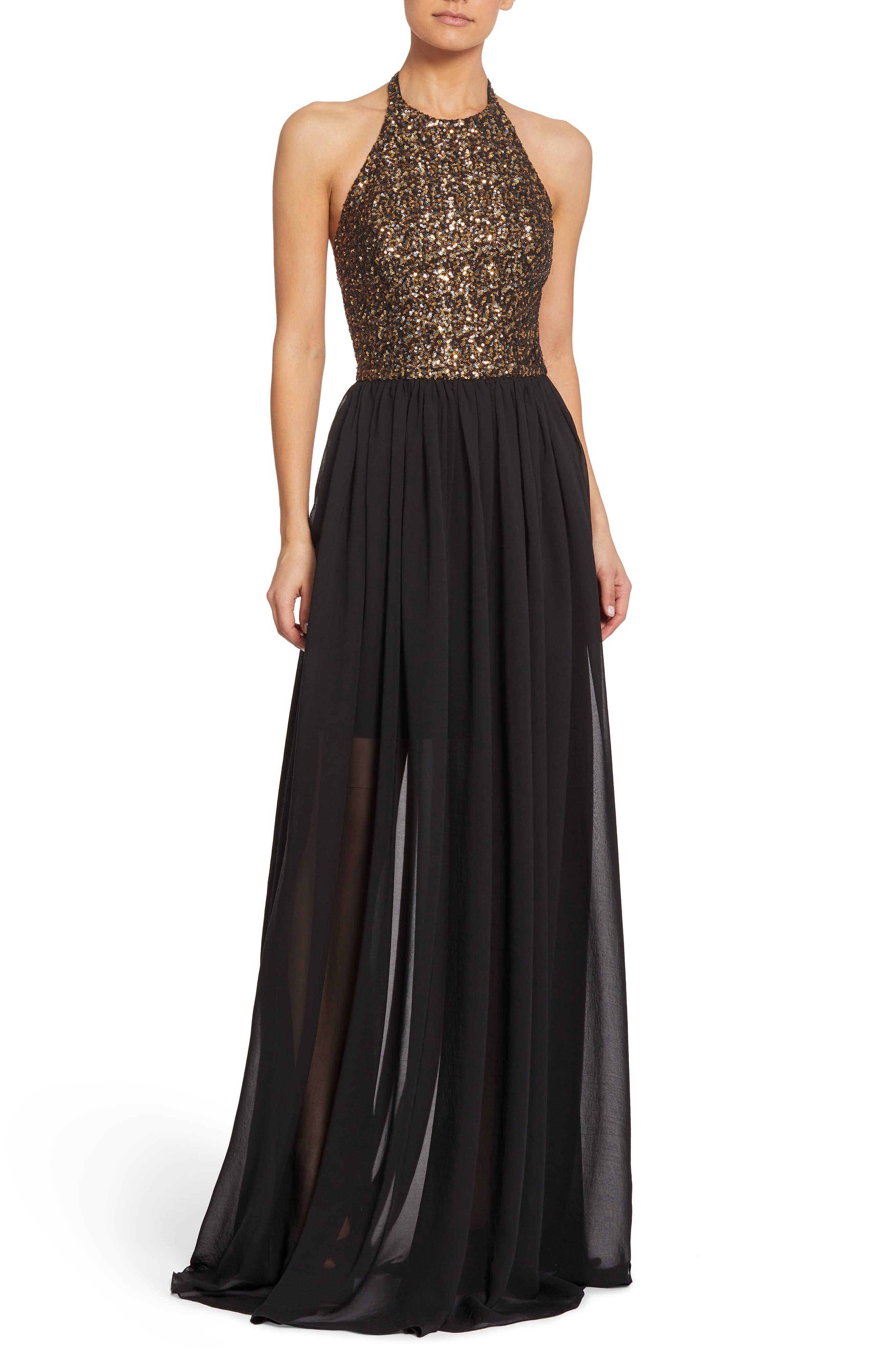 Dress The Population Farah Halter Gown, Black