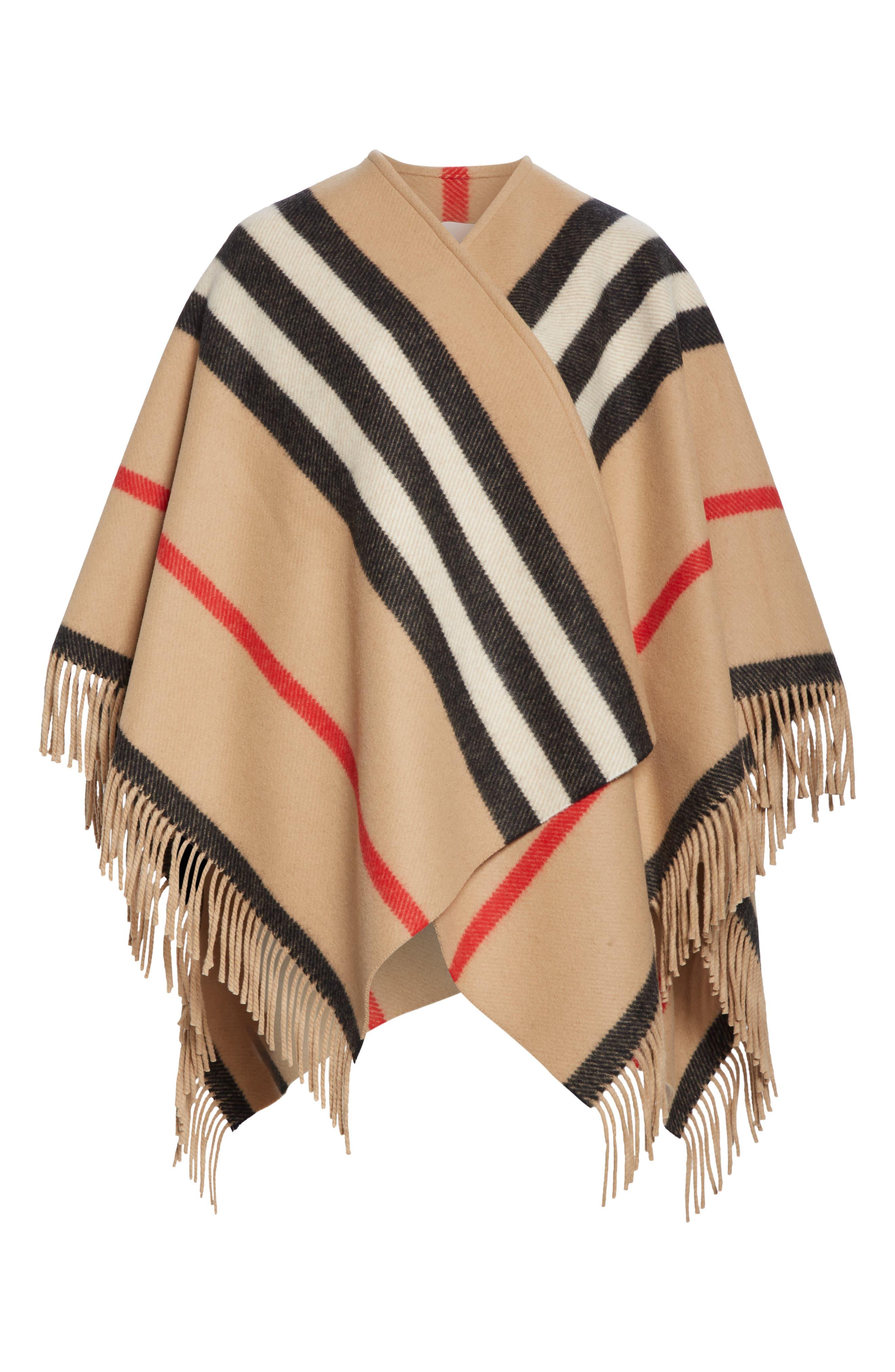 BURBERRY, Stripe Fringe Wool Cape, Alternate thumbnail 6, color, CAMEL
