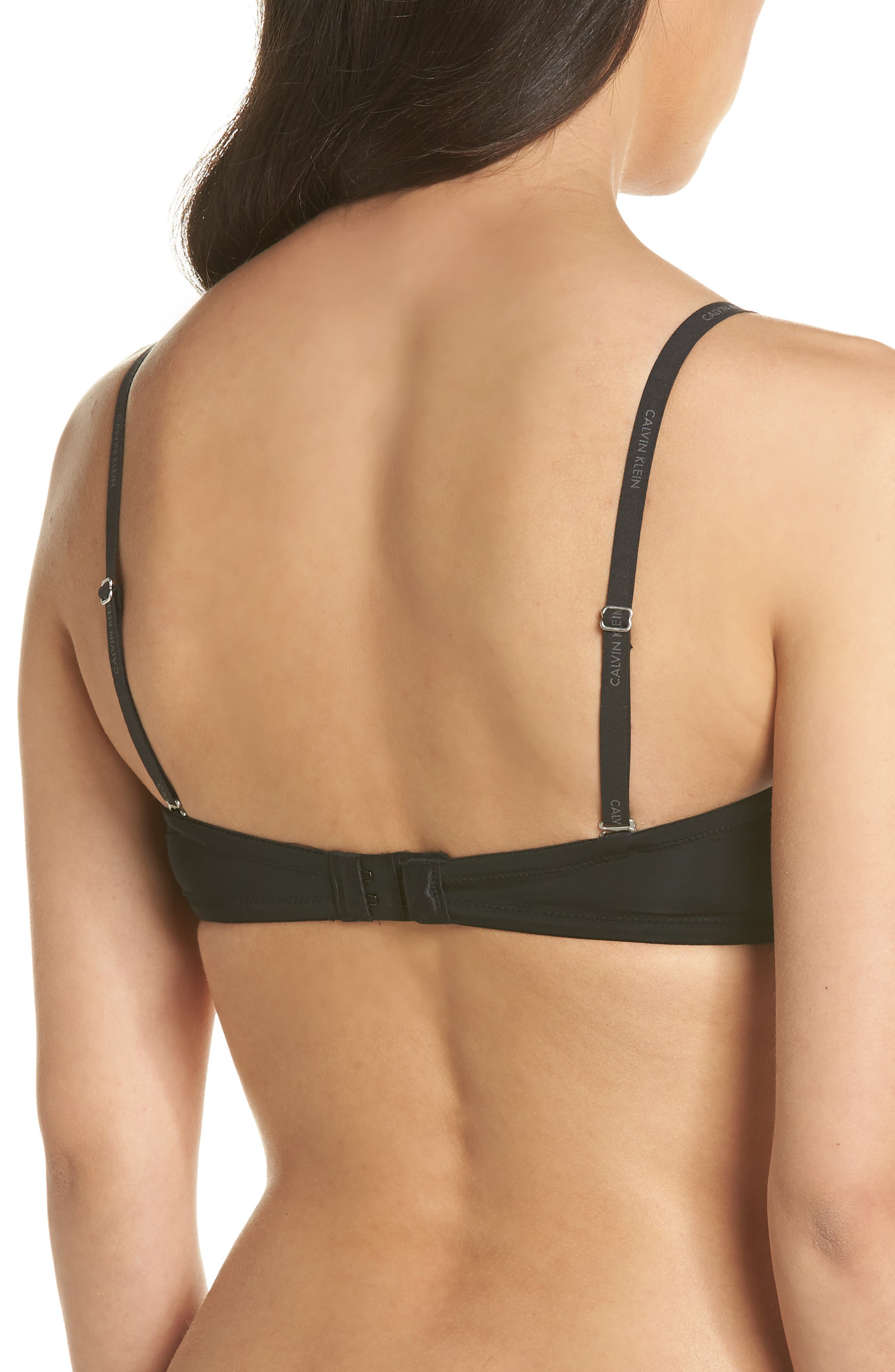 CALVIN KLEIN, 'Naked Glamour' Convertible Strapless Push-Up Bra, Alternate thumbnail 5, color, BLACK