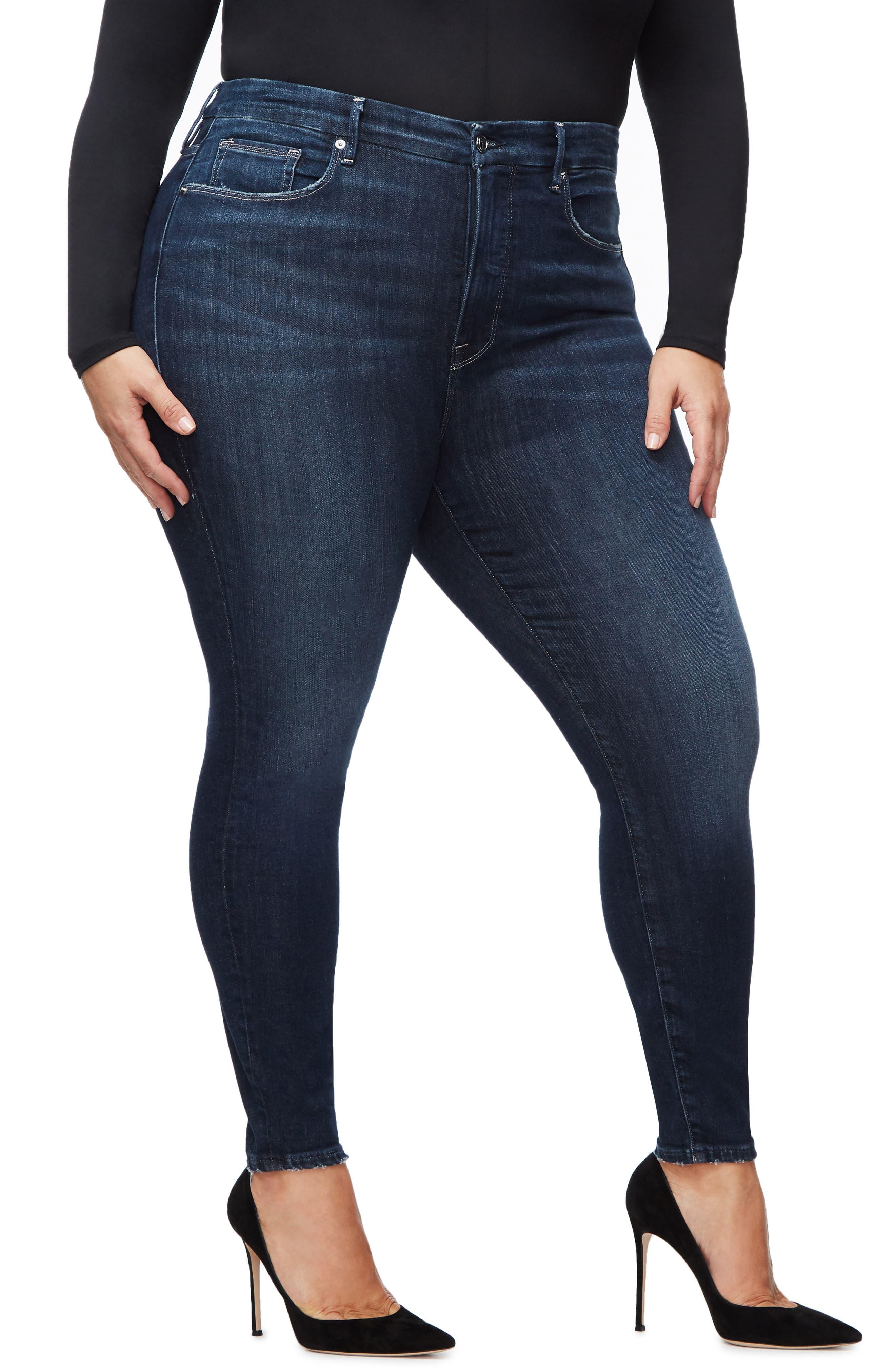 GOOD AMERICAN, Good Legs Ankle Skinny Jeans, Alternate thumbnail 7, color, BLUE260