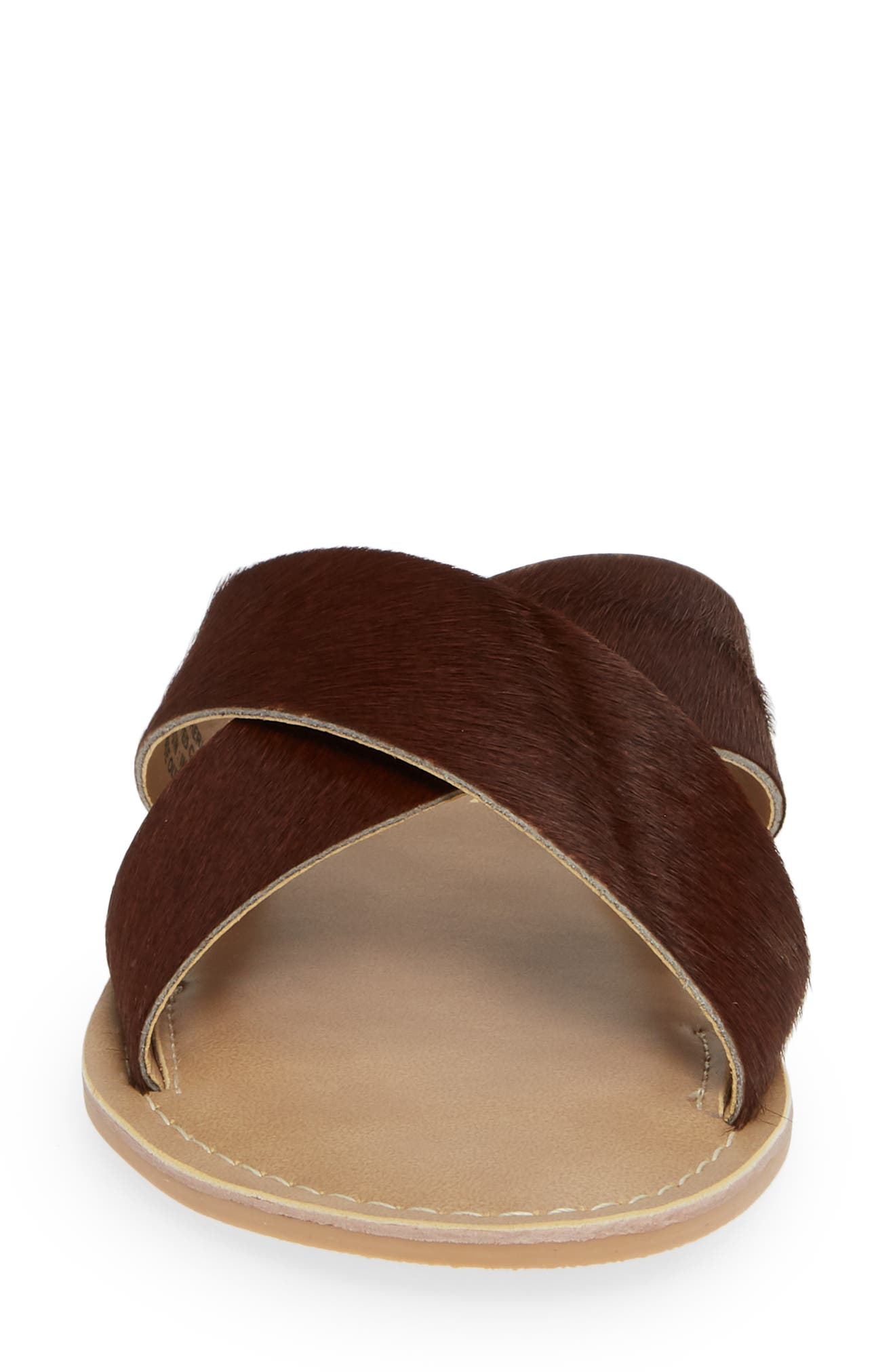 COCONUTS BY MATISSE, Pebble Genuine Calf Hair Slide Sandal, Alternate thumbnail 4, color, BROWN CALF HAIR