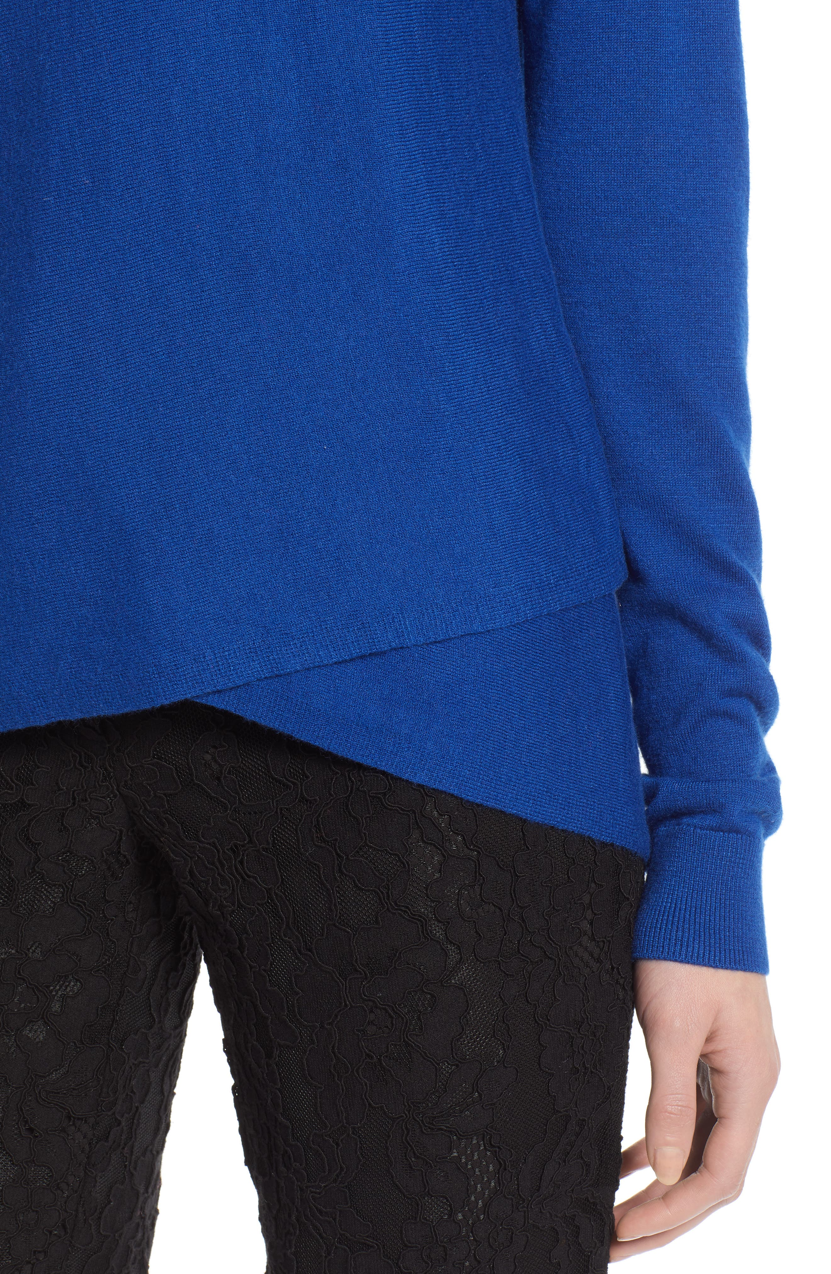 HALOGEN<SUP>®</SUP>, Crossover Front Knit Sweater, Alternate thumbnail 4, color, BLUE MAZARINE